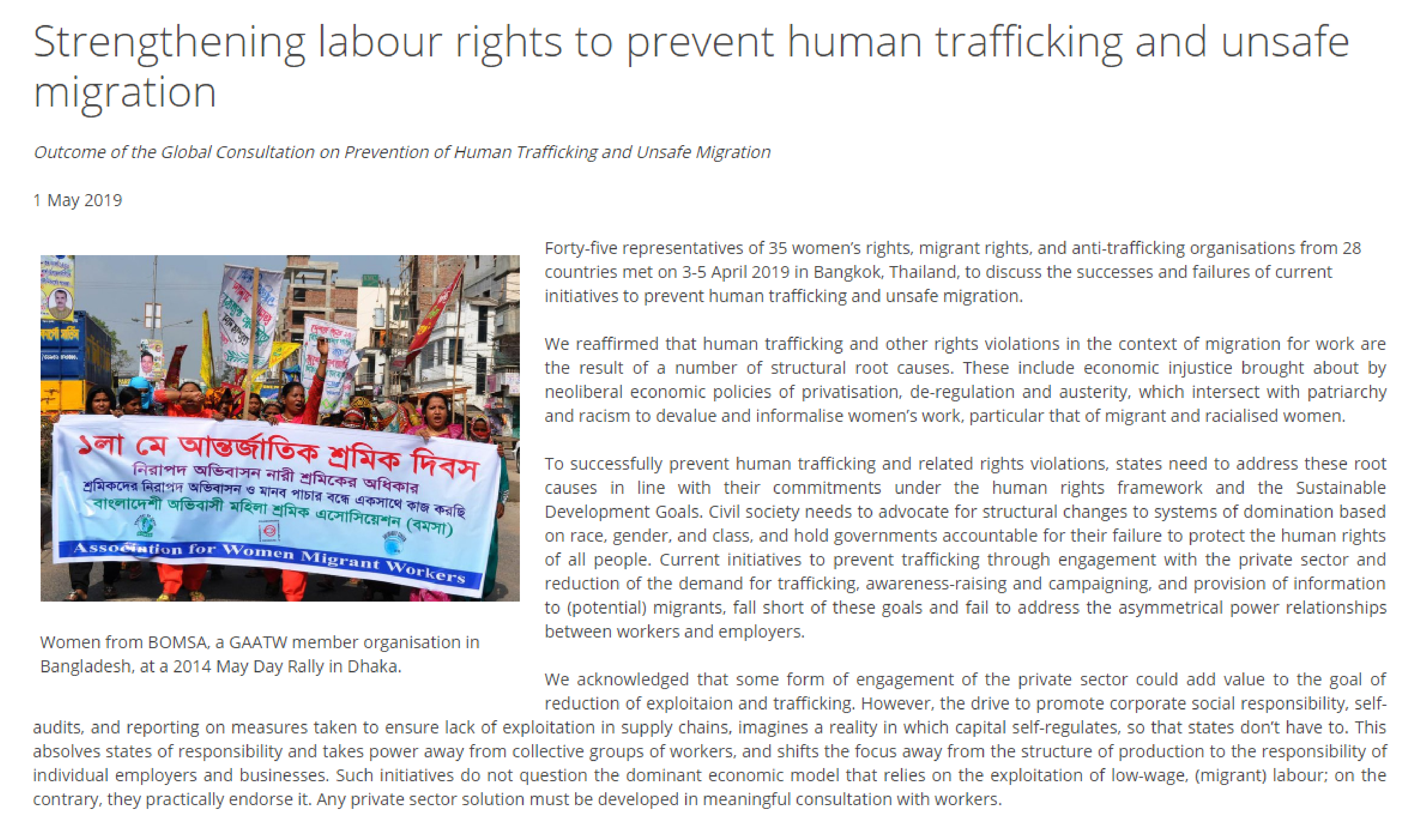Strengthening labour rights to prevent human trafficking and unsafe migration