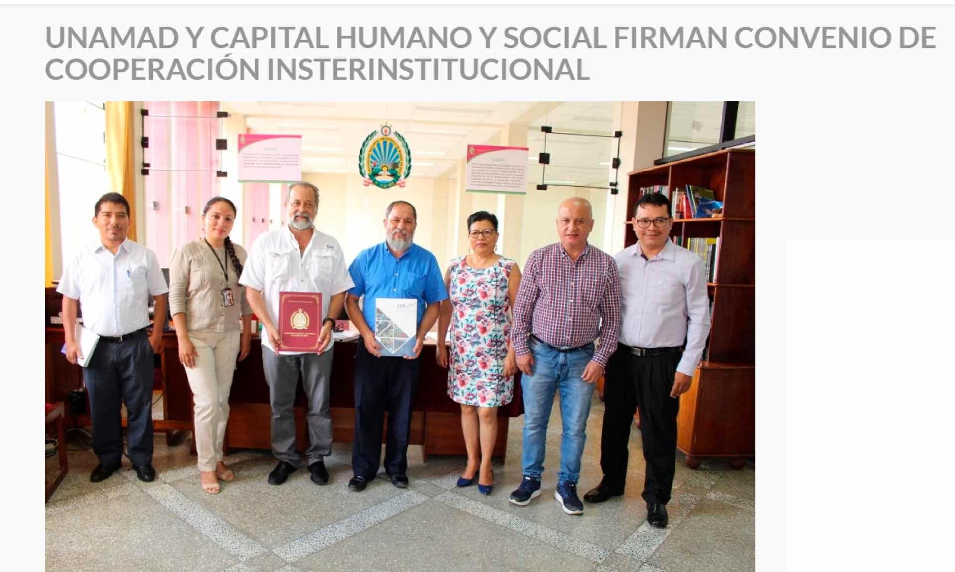 UNAMAD Y Capital Humano Y Social firman convenio de cooeperación interinstitucional