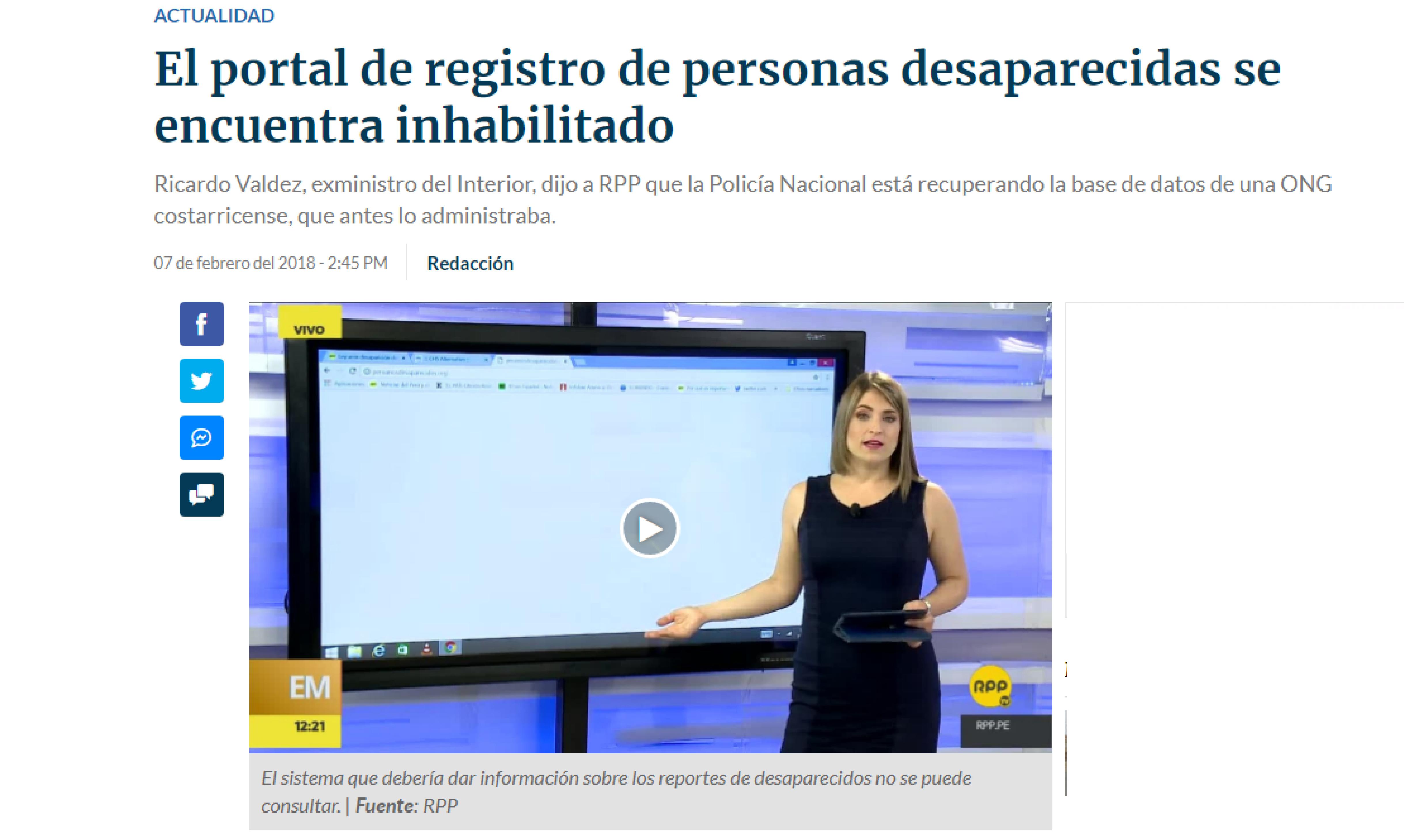 RPP: El portal de registro de personas desaparecidas se encuentra inhabilitado