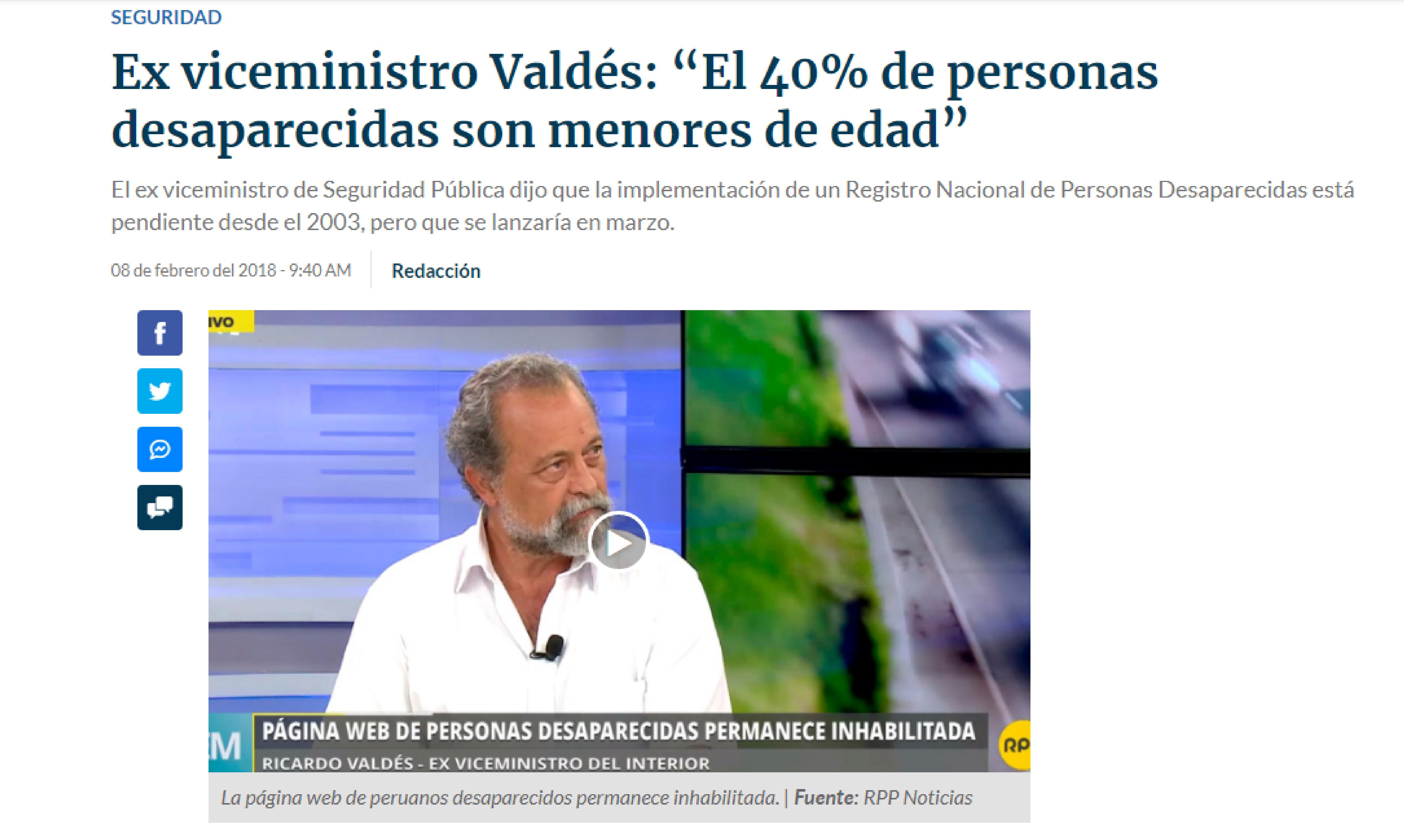 """RPP: Ex viceministro Valdés: """"El 40% de personas desaparecidas son menores de edad"""""""