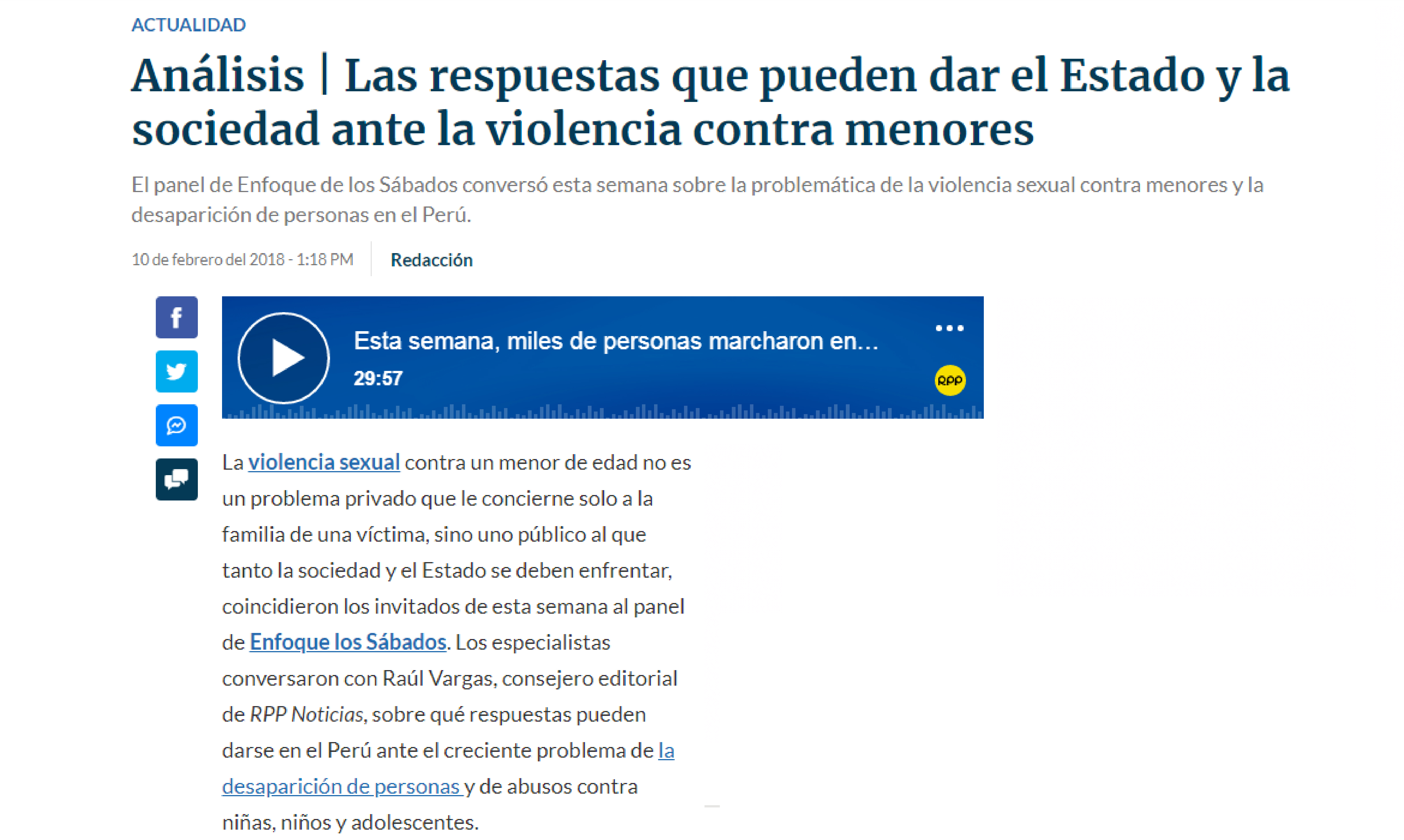 RPP: Las respuestas que pueden dar el Estado y la sociedad ante la violencia contra menores