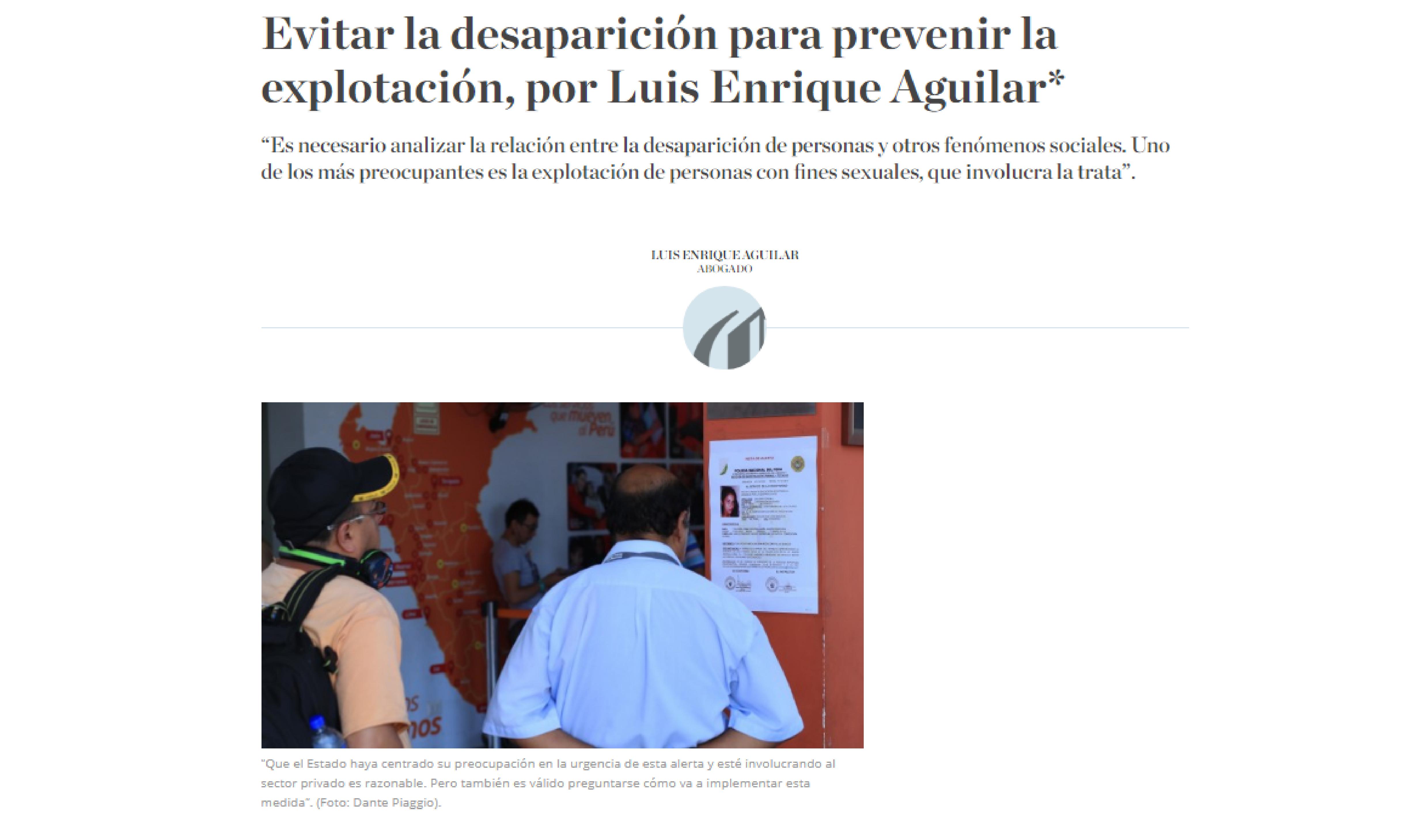 El Comercio: Evitar la desaparición para prevenir la explotación, por Luis Enrique Aguilar
