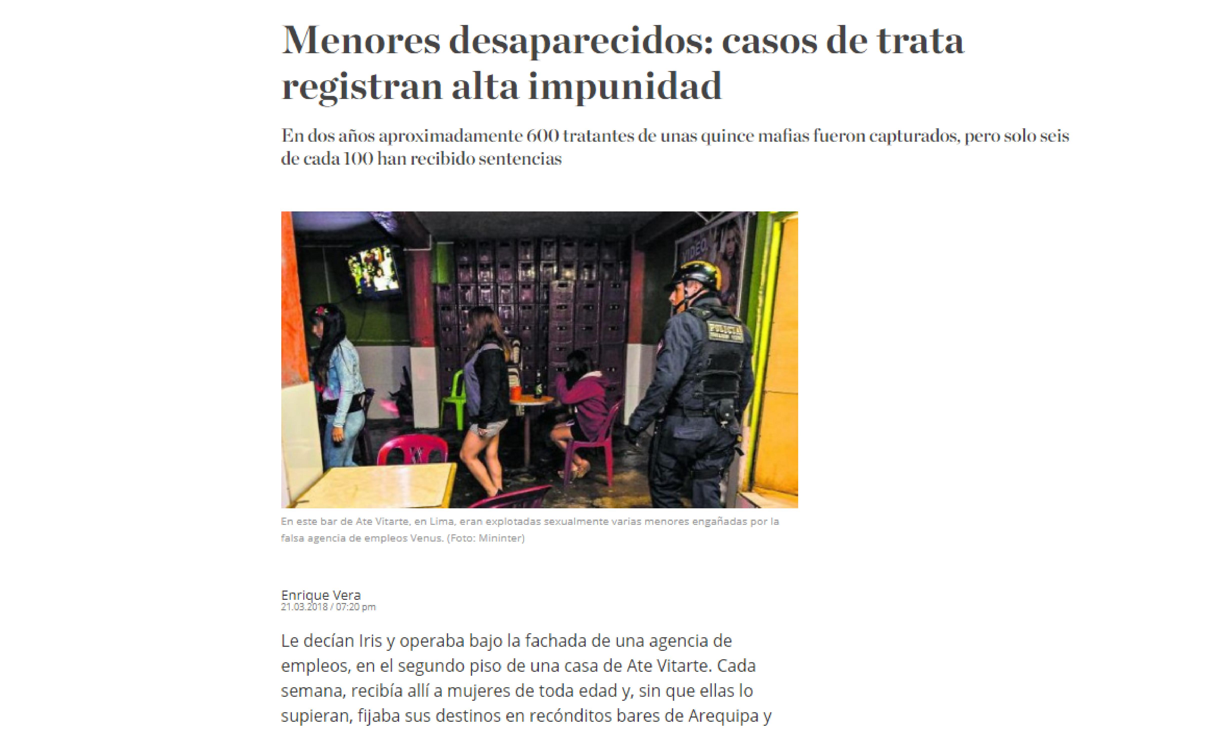 El Comercio: Menores desaparecidos: casos de trata registran alta impunidad