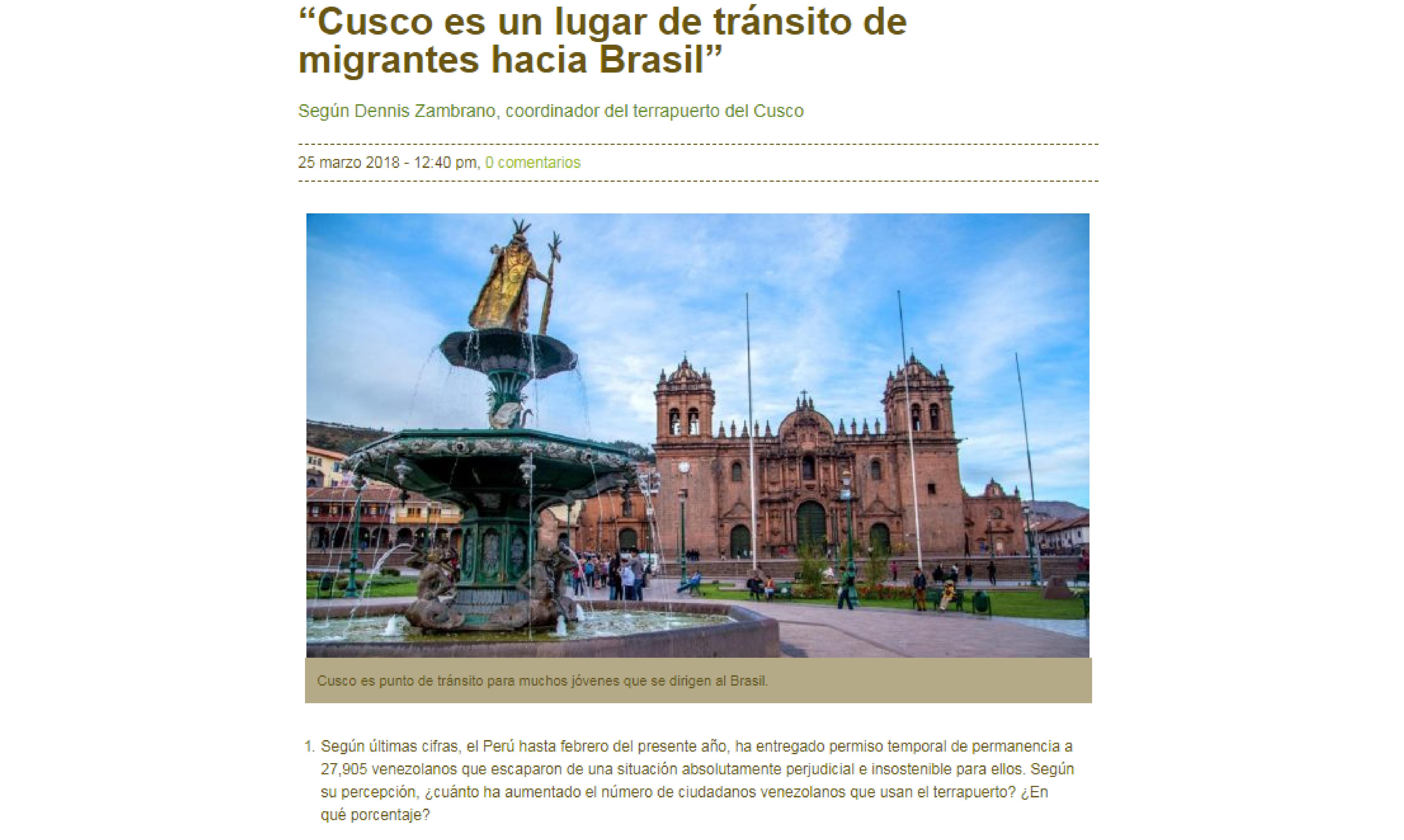 """Inforegión: """"Cusco es un lugar de tránsito de migrantes hacia Brasil"""""""