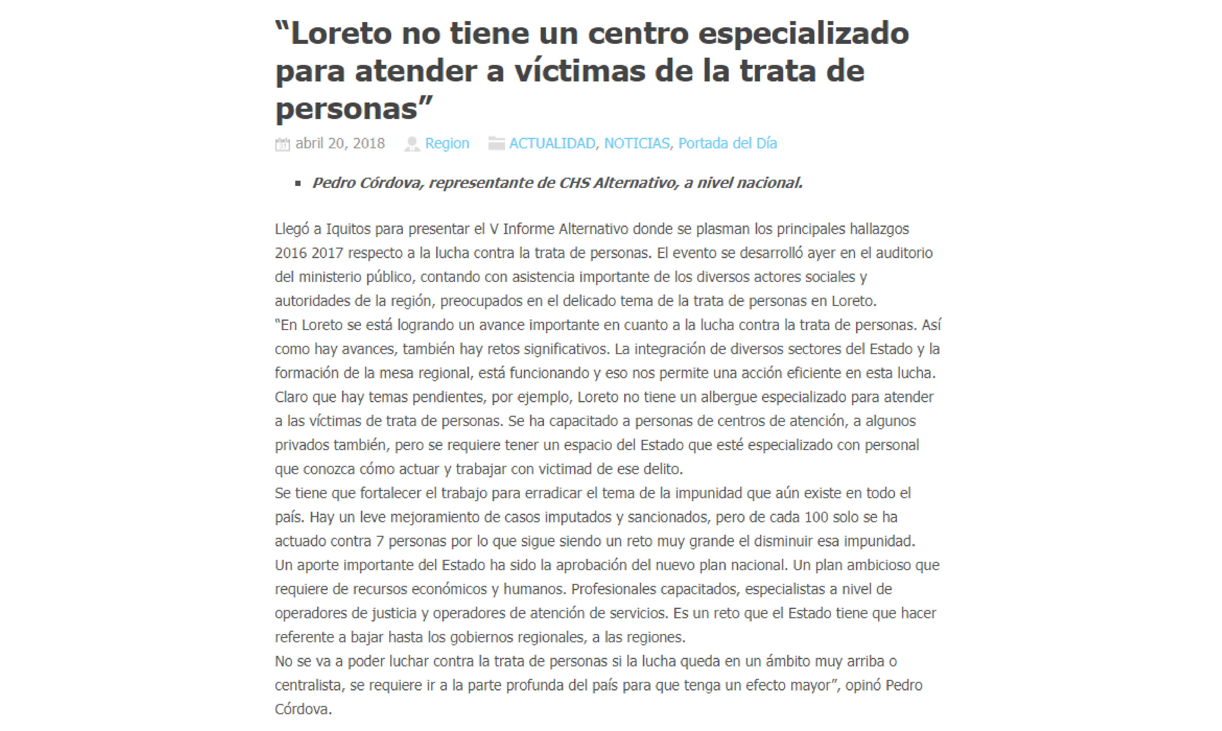 """La Región: """"Loreto no tiene un centro especializado para atender a víctimas de la trata de personas"""""""