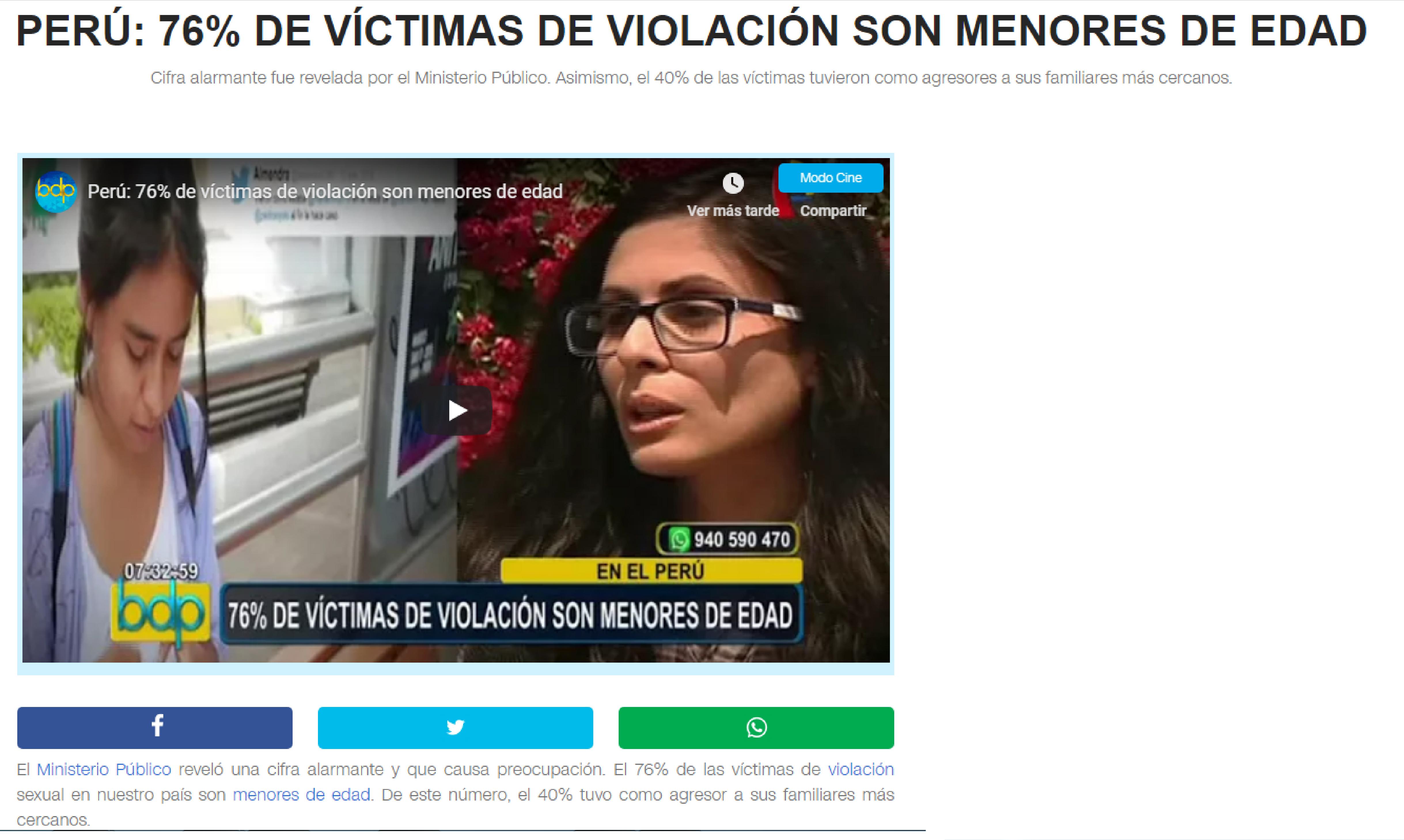 Panamericana: Perú: 76% de víctimas de violación son menores de edad