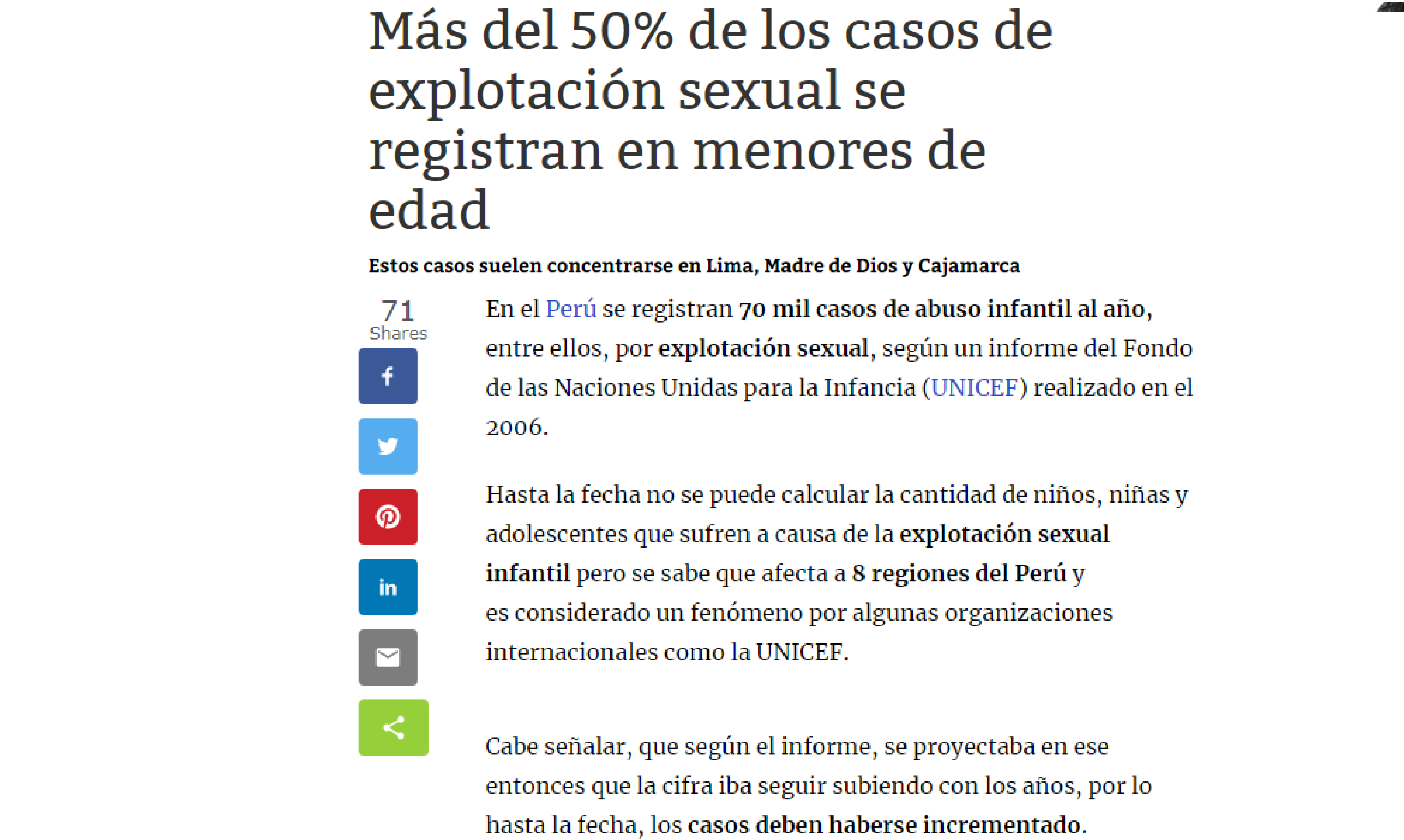 Correo: Más del 50% de los casos de explotación sexual se registran en menores de edad