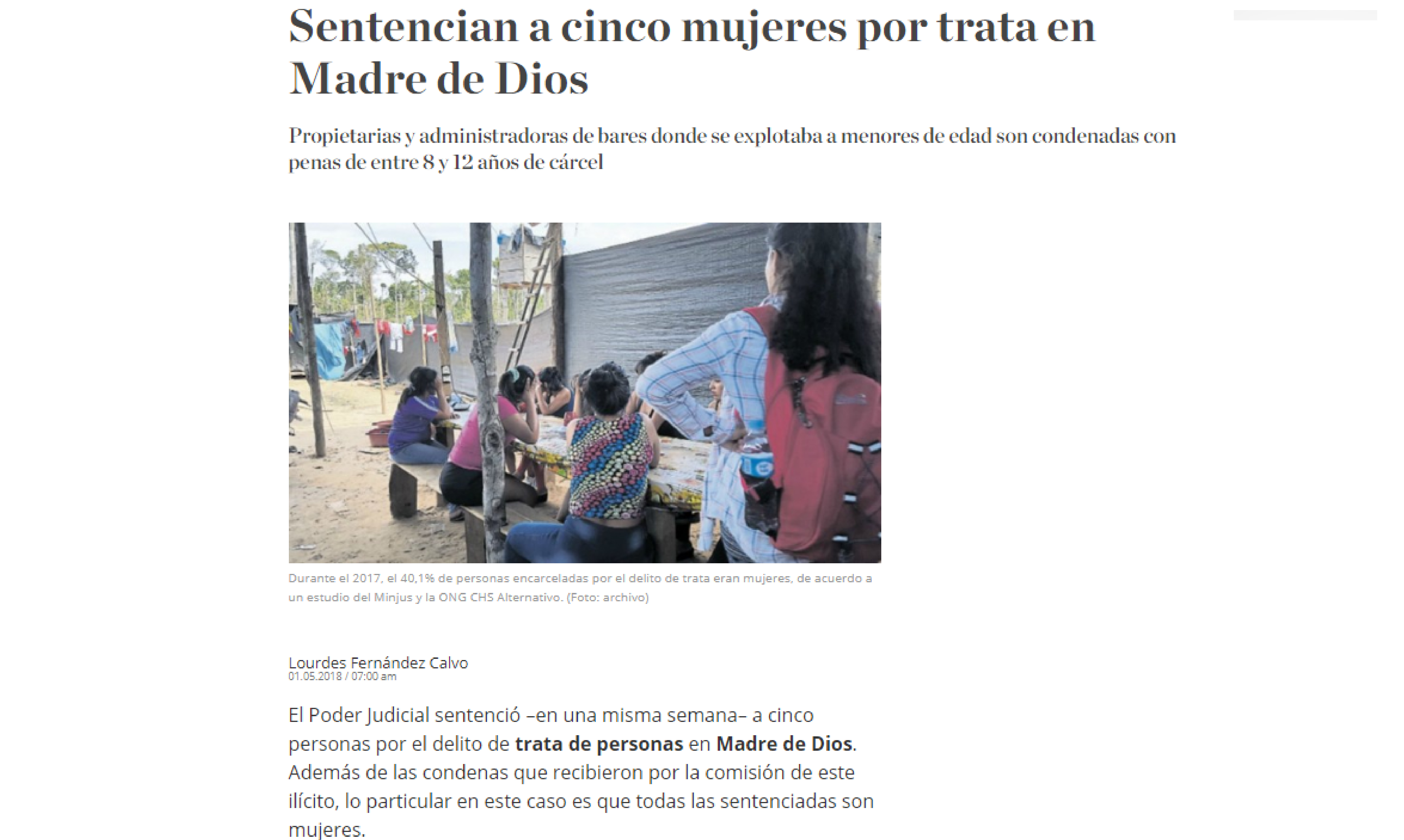 El Comercio: Sentencian a cinco mujeres por trata en Madre de Dios