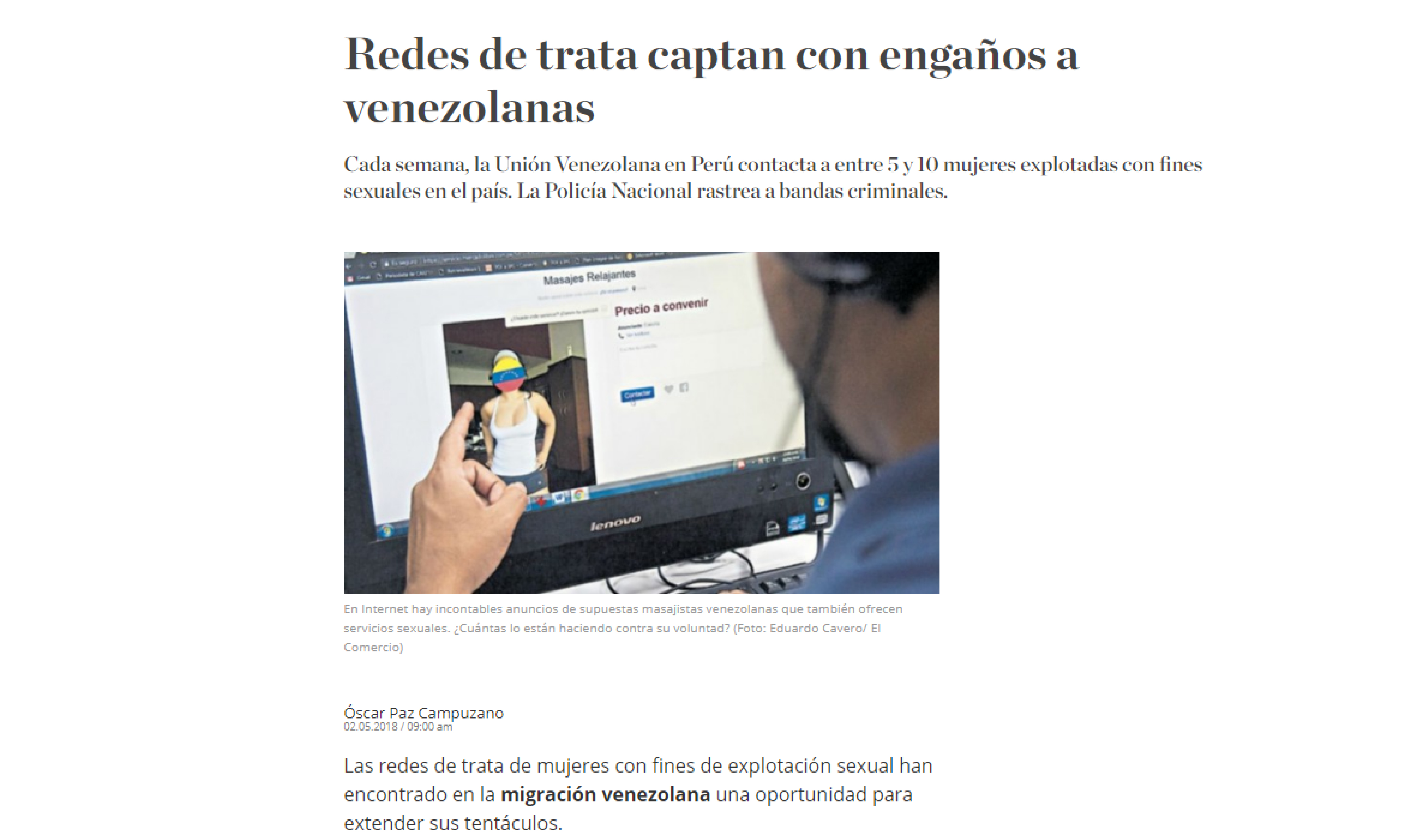 El Comercio: Redes de trata captan con engaños a venezolanas