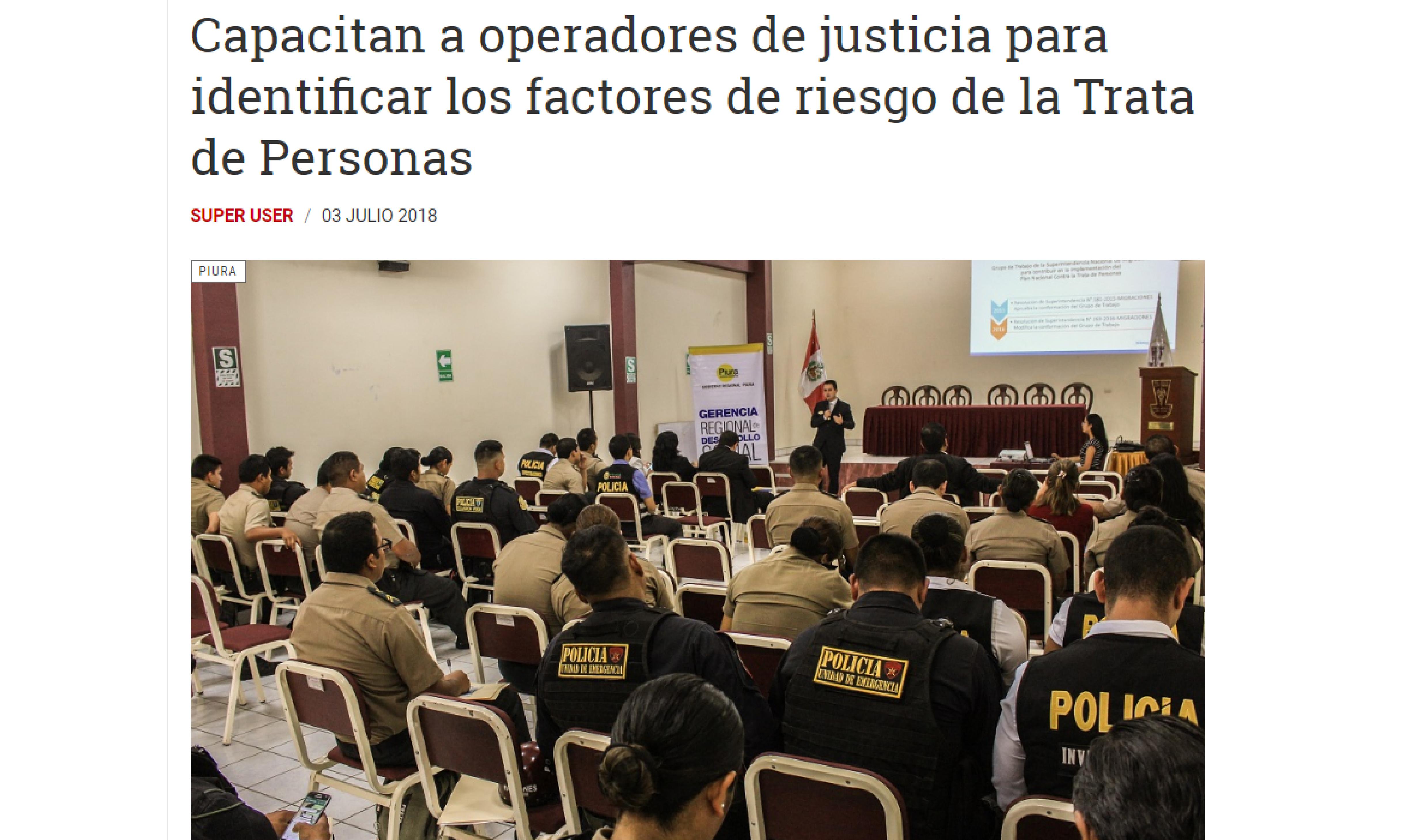 Capacitan a operadores de justicia para identificar los factores de riesgo de la Trata de Personas