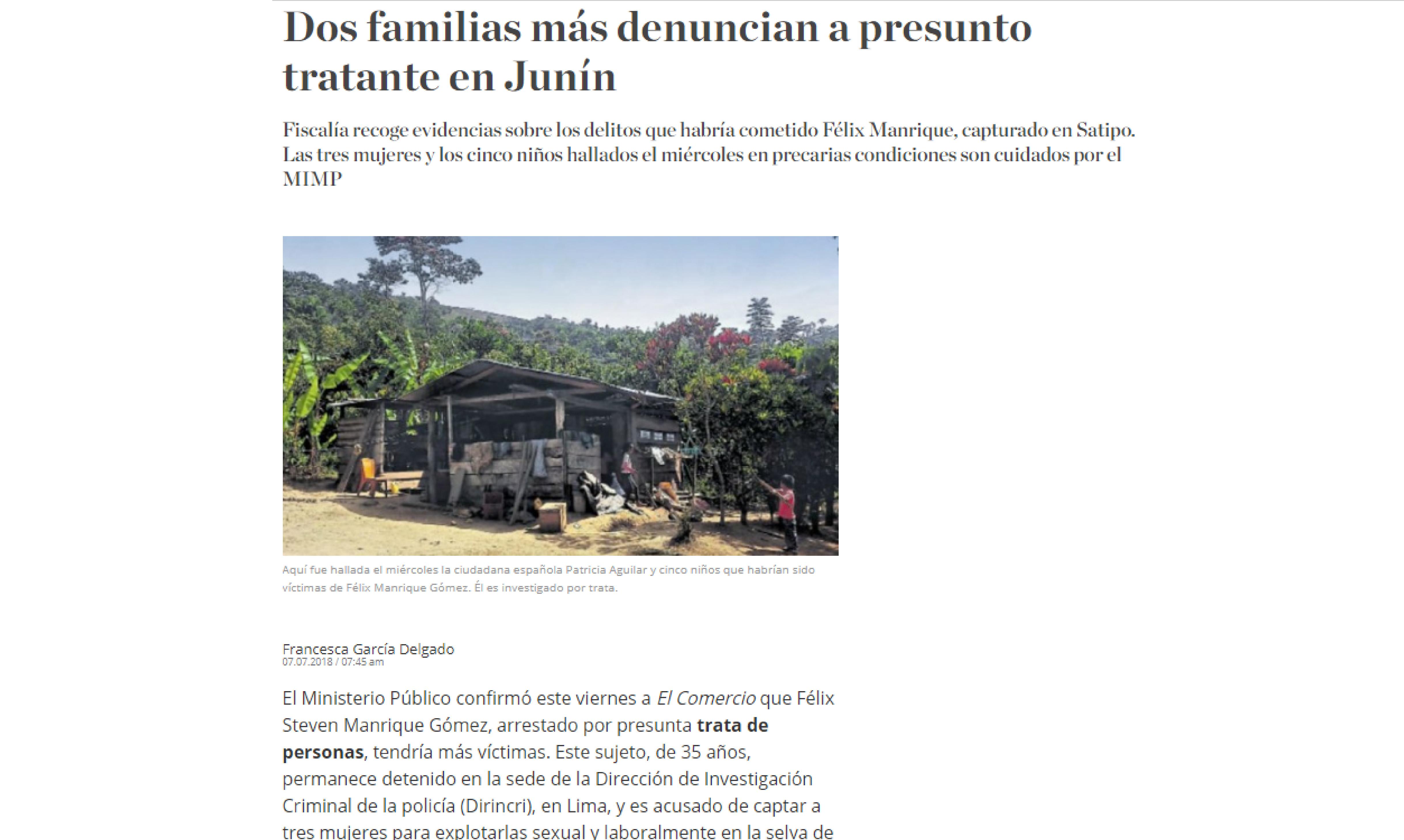 El Comercio: Dos familias más denuncian a presunto tratante en Junín