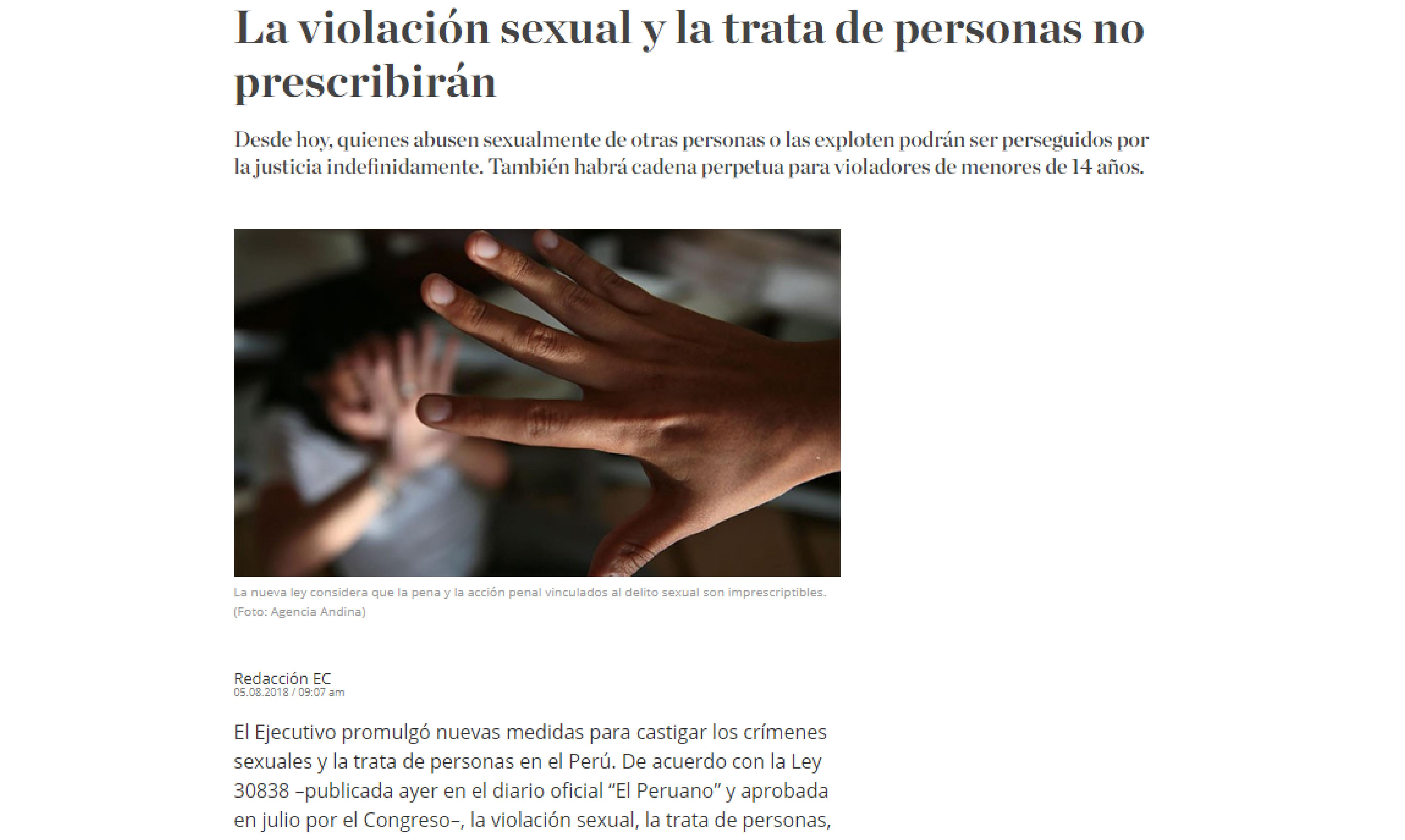 La violación sexual y la trata de personas no prescribirán