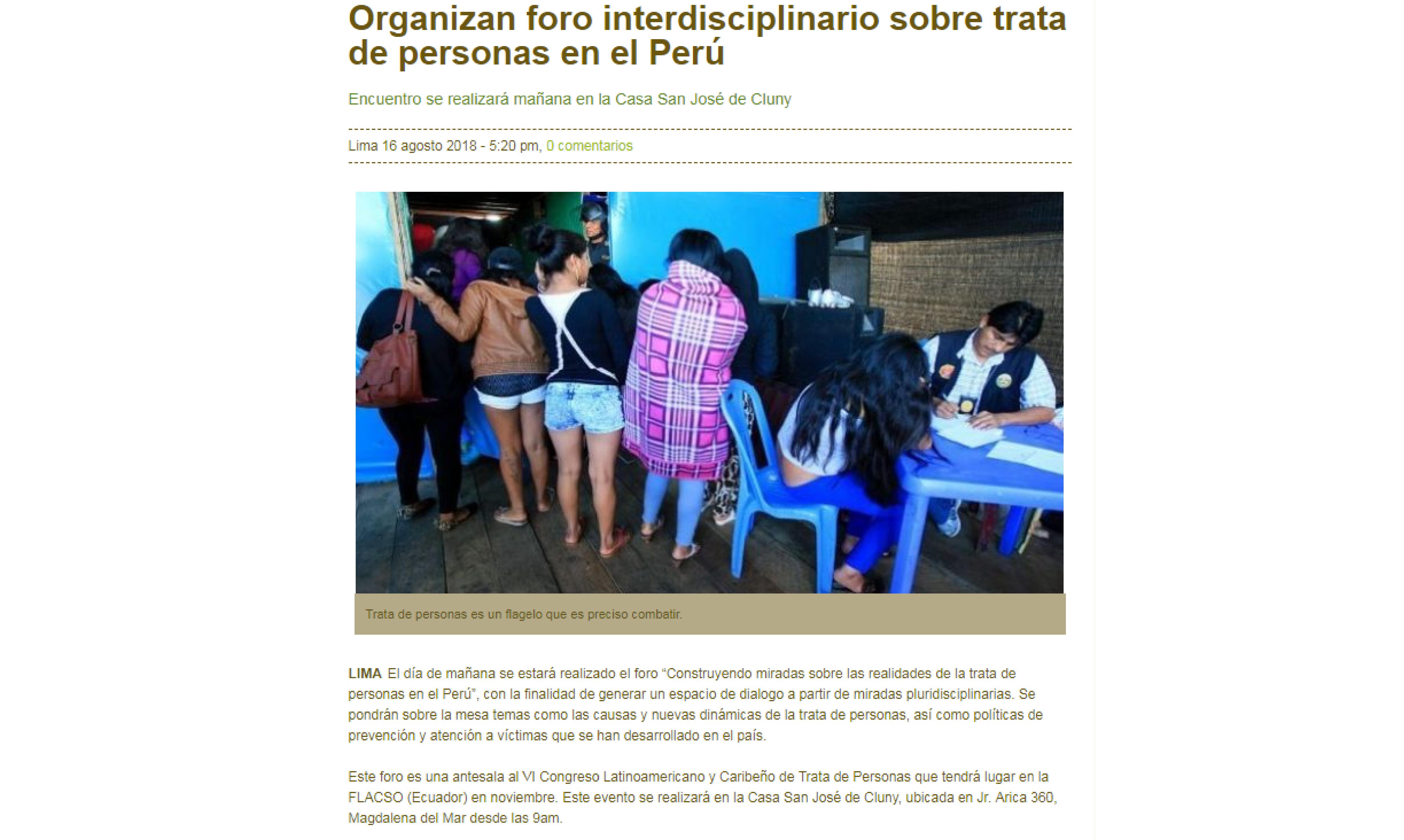 Inforegión: Organizan foro interdisciplinario sobre trata de personas en el Perú