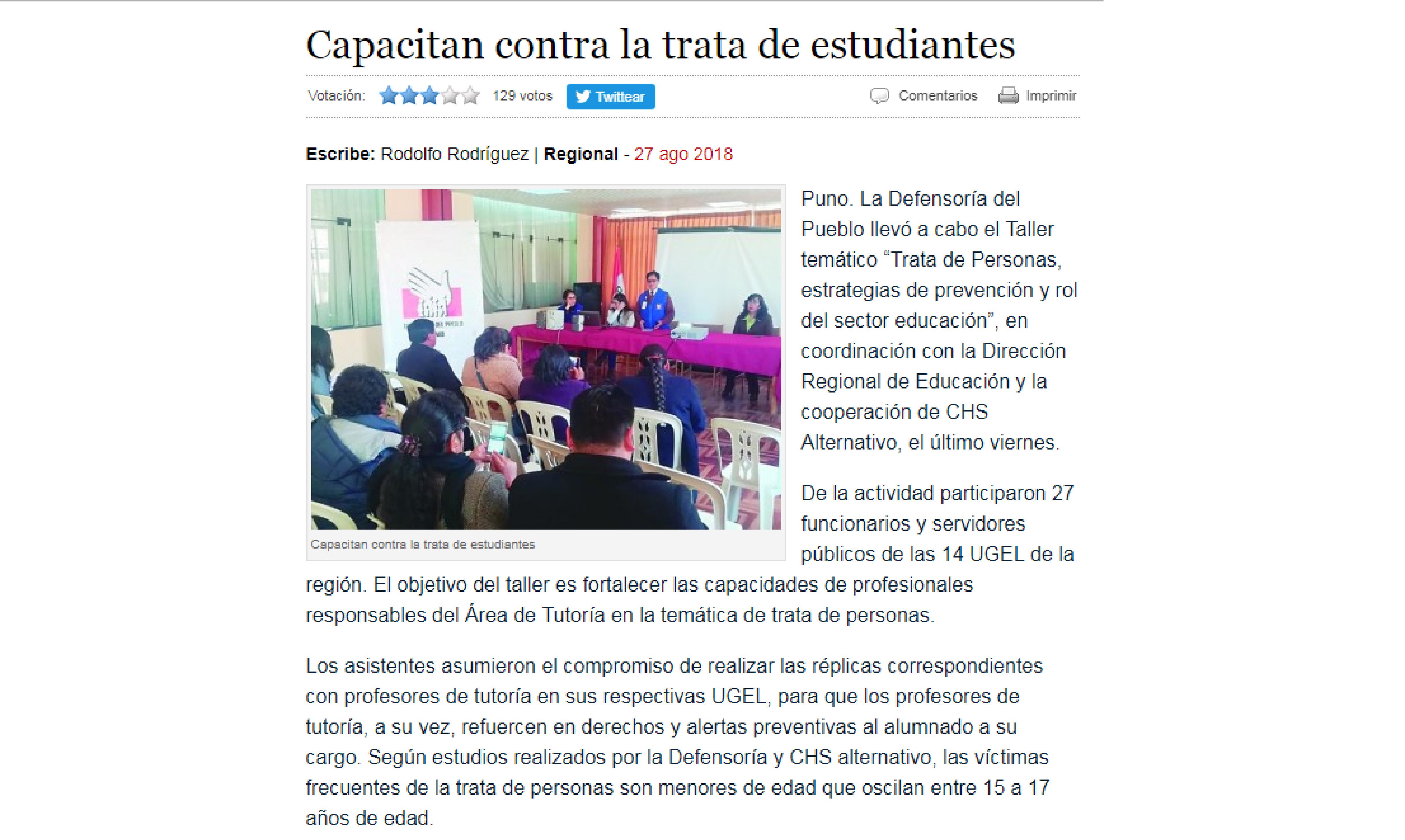 Los Andes: Capacitan contra la trata de estudiantes