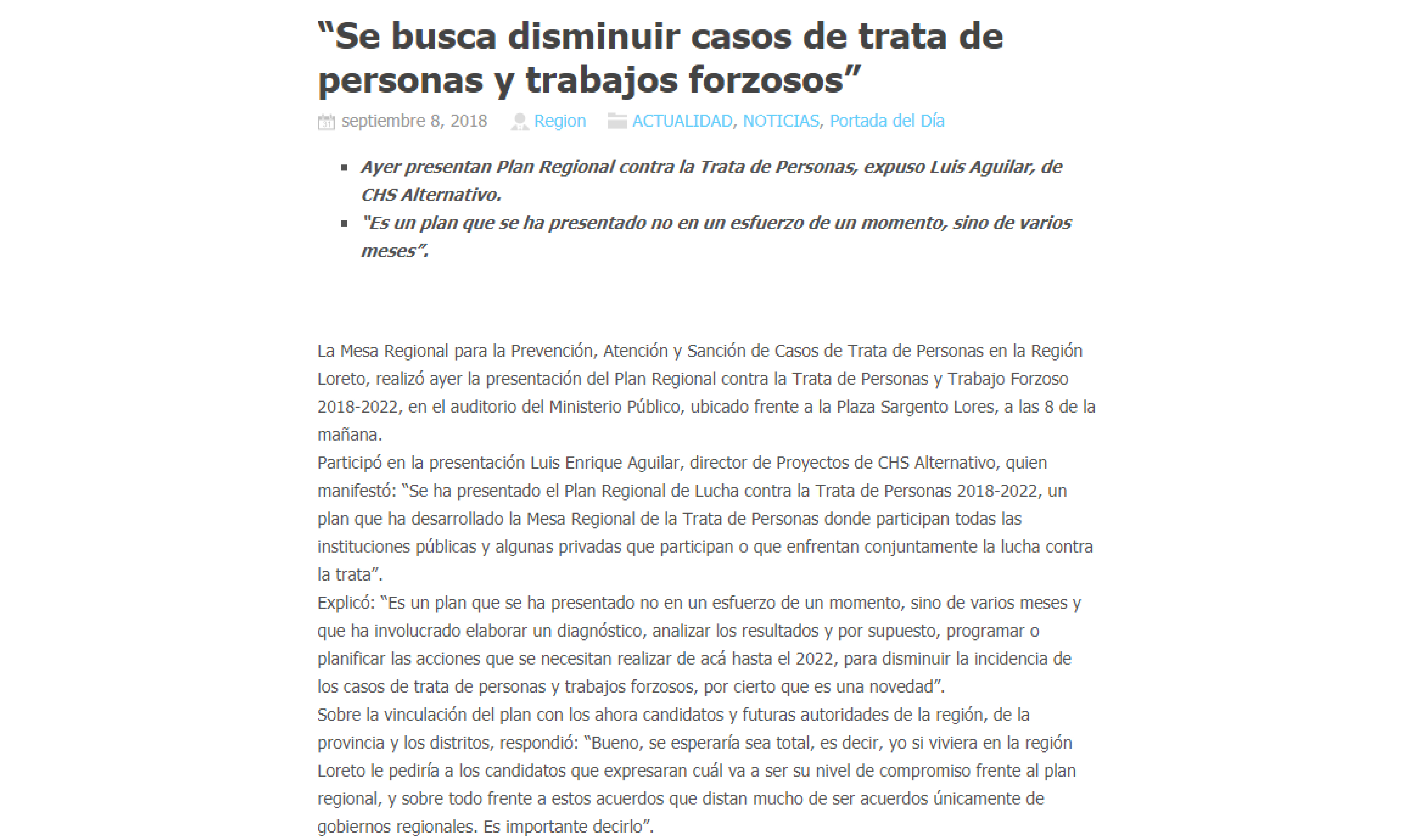 """La Región: """"SE BUSCA DISMINUIR CASOS DE TRATA DE PERSONAS Y TRABAJOS FORZOSOS"""""""