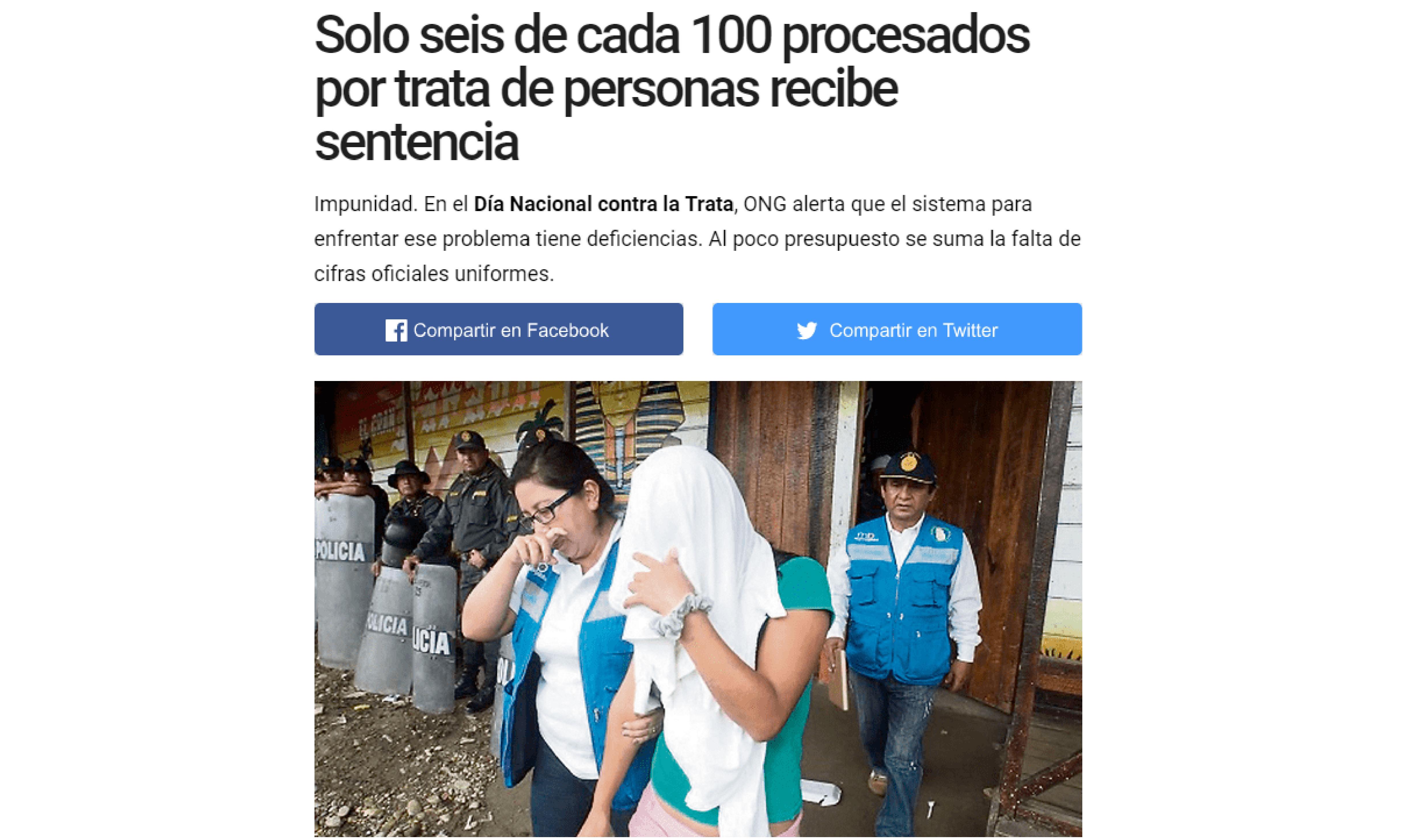 La República: Solo seis de cada 100 procesados por trata de personas recibe sentencia
