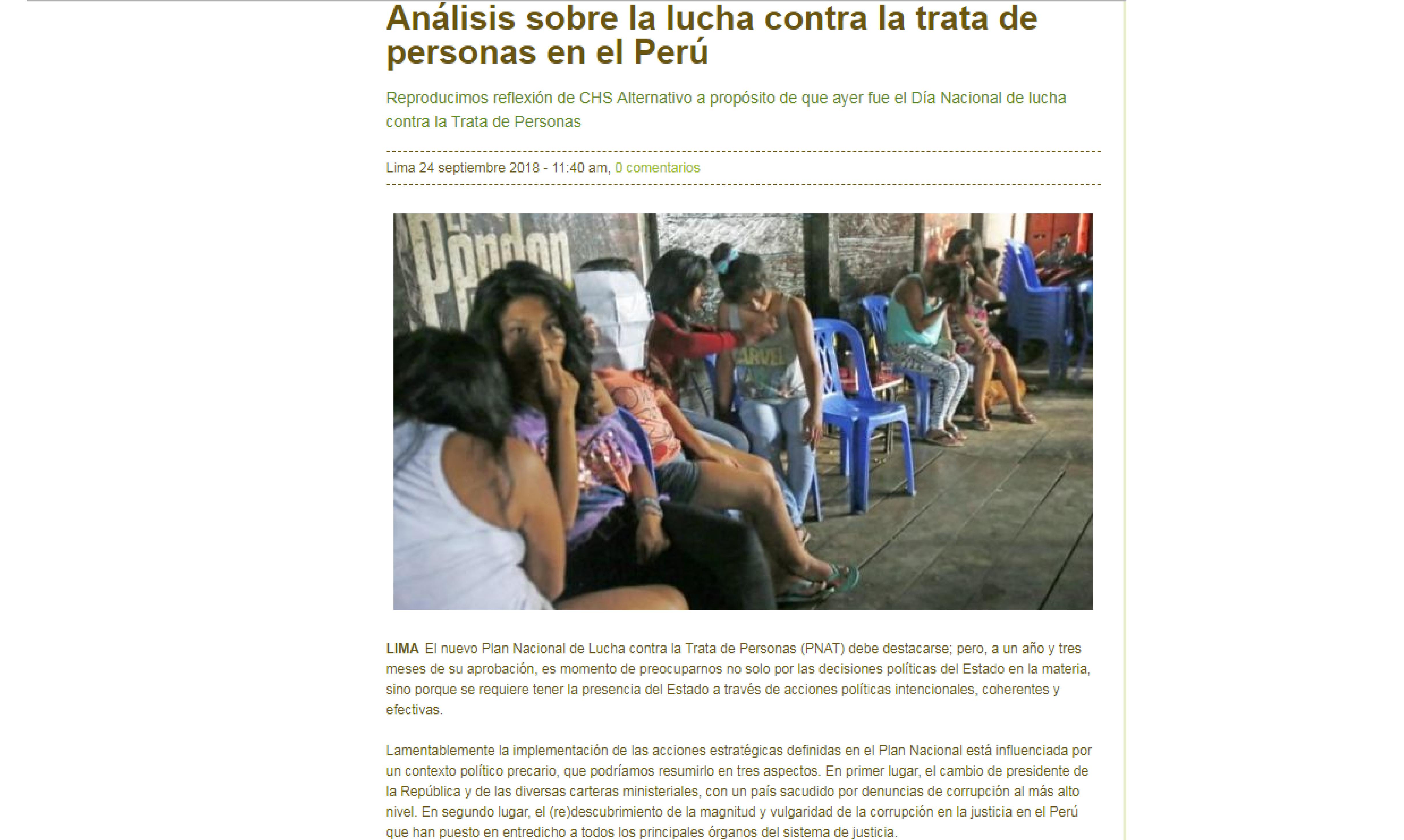 Inforegión: Análisis sobre la lucha contra la trata de personas en el Perú