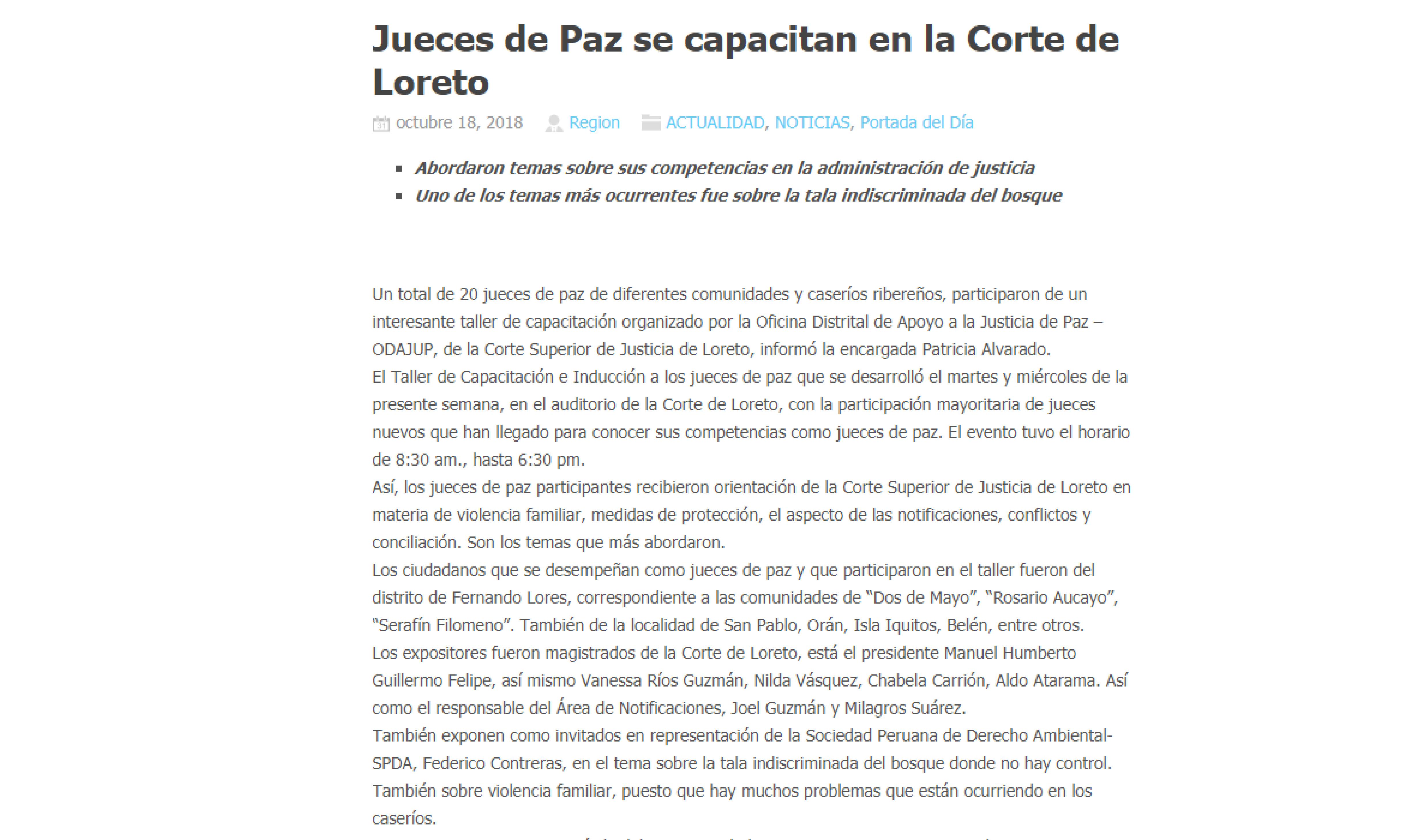 La Región: Jueces de Paz se capacitan en la corte de Loreto