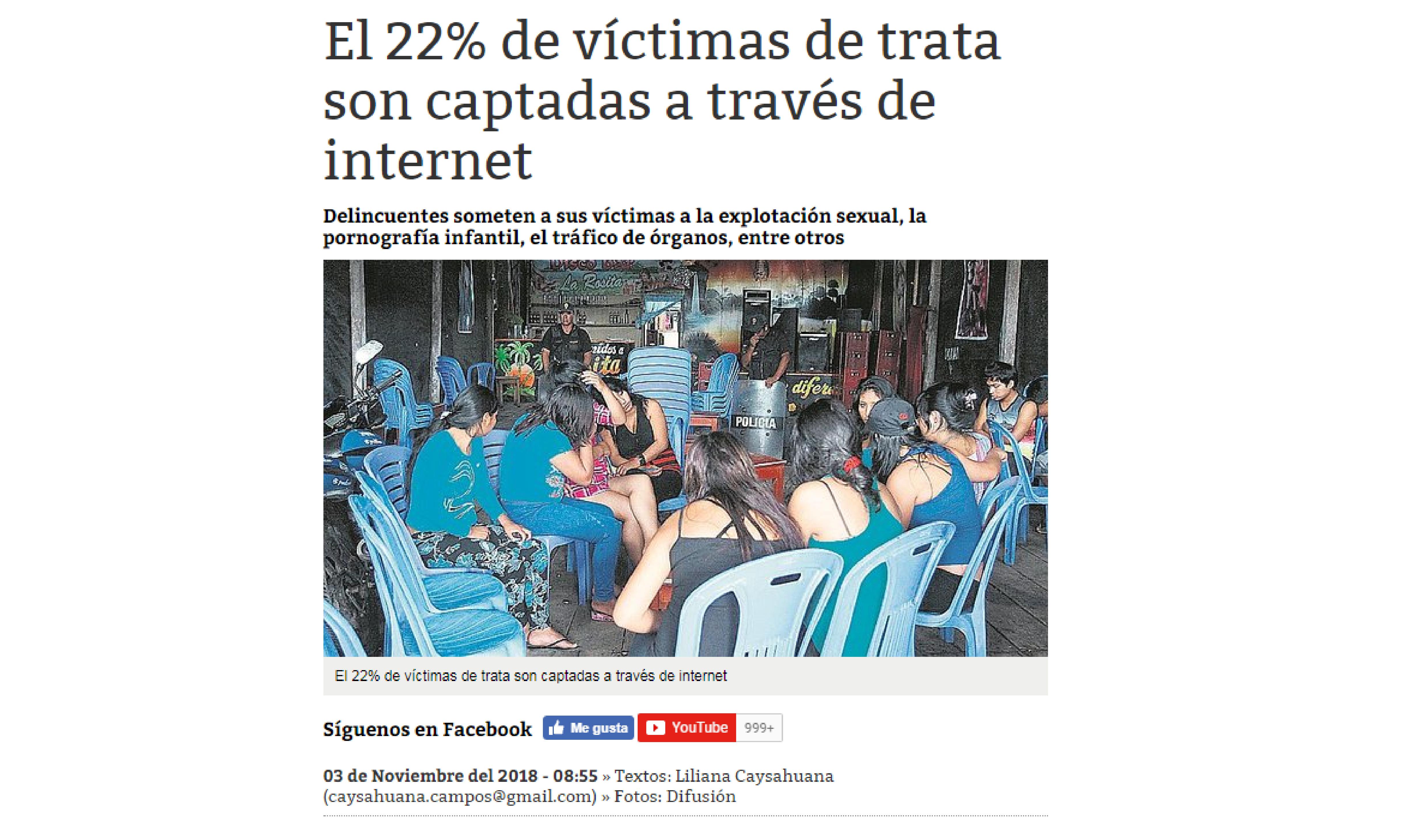 Correo: El 22% de víctimas de trata son captadas a través de internet