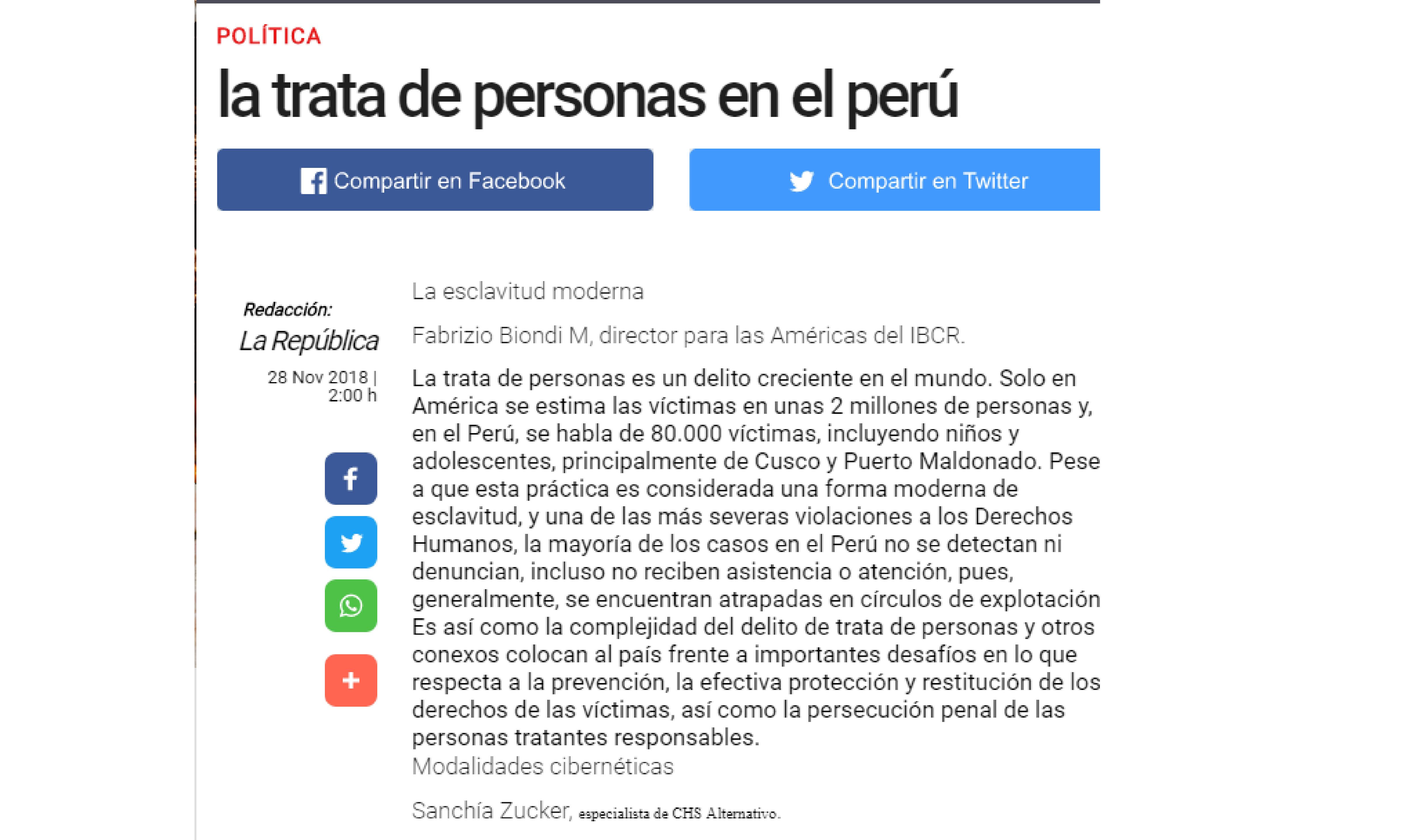 La República: La trata de personas en el Perú