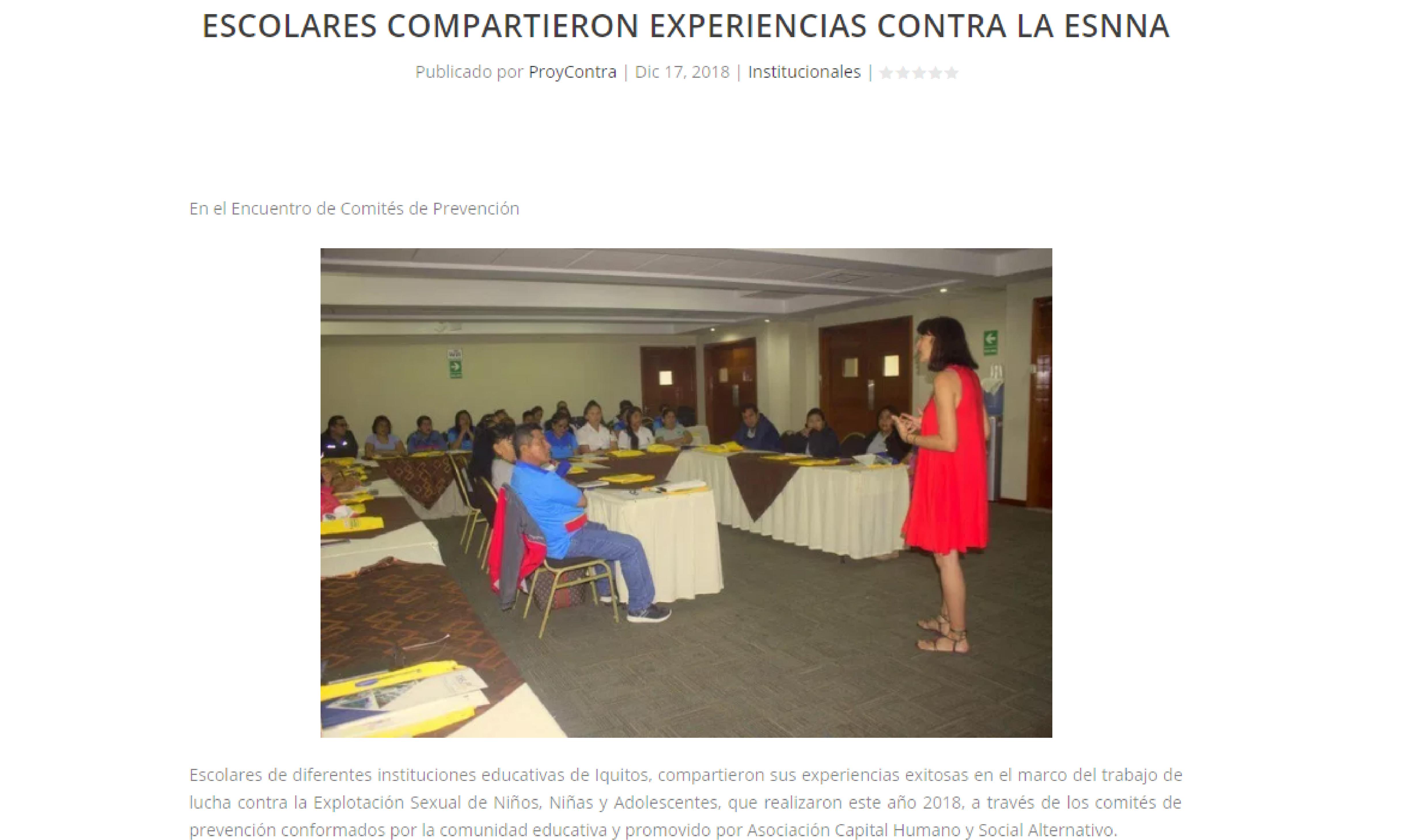 Pro y Contra: Escolares compartieron experiencias contra la ESNNA