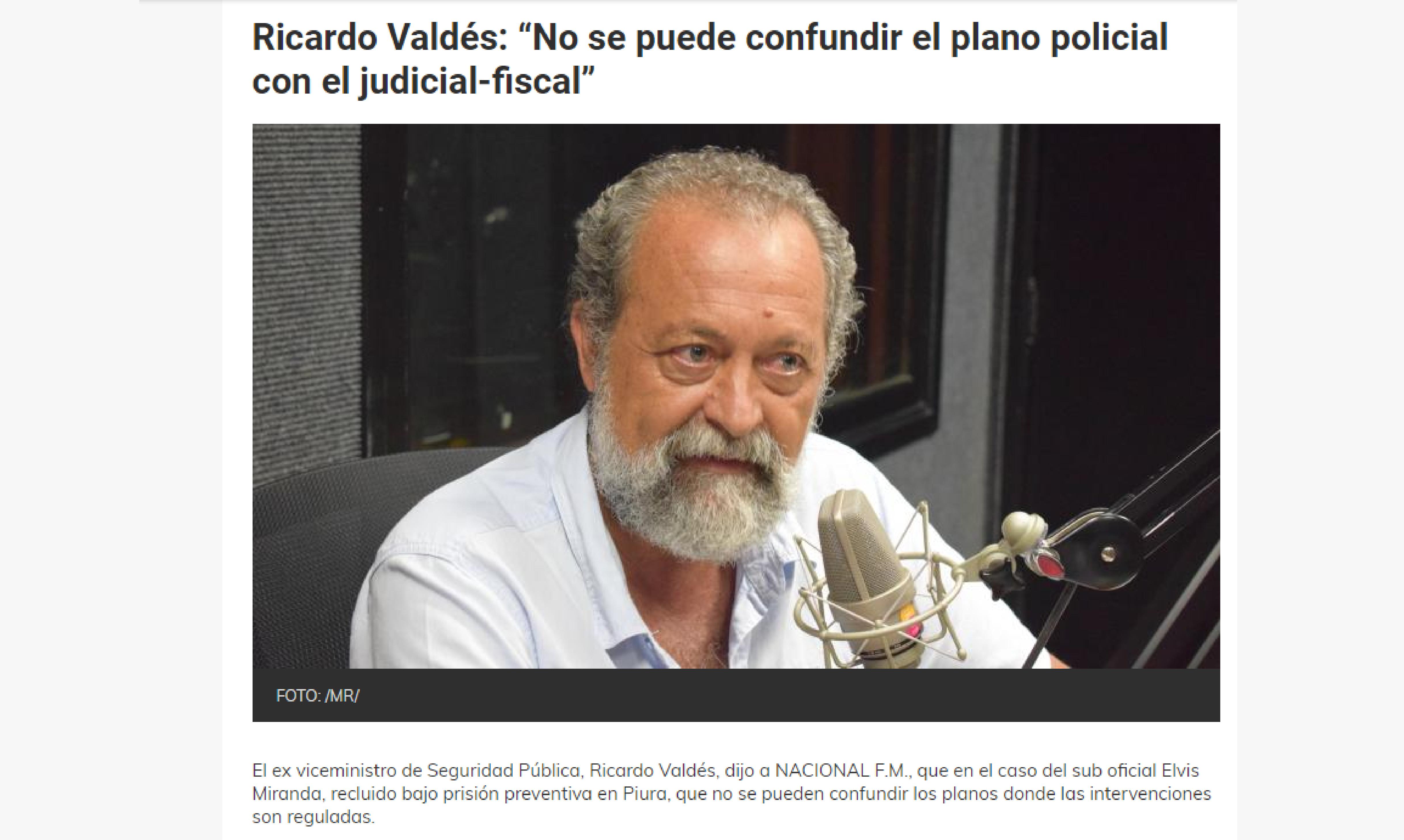 """Ricardo Valdés: """"No se puede confundir el plano policial con el judicial-fiscal"""""""
