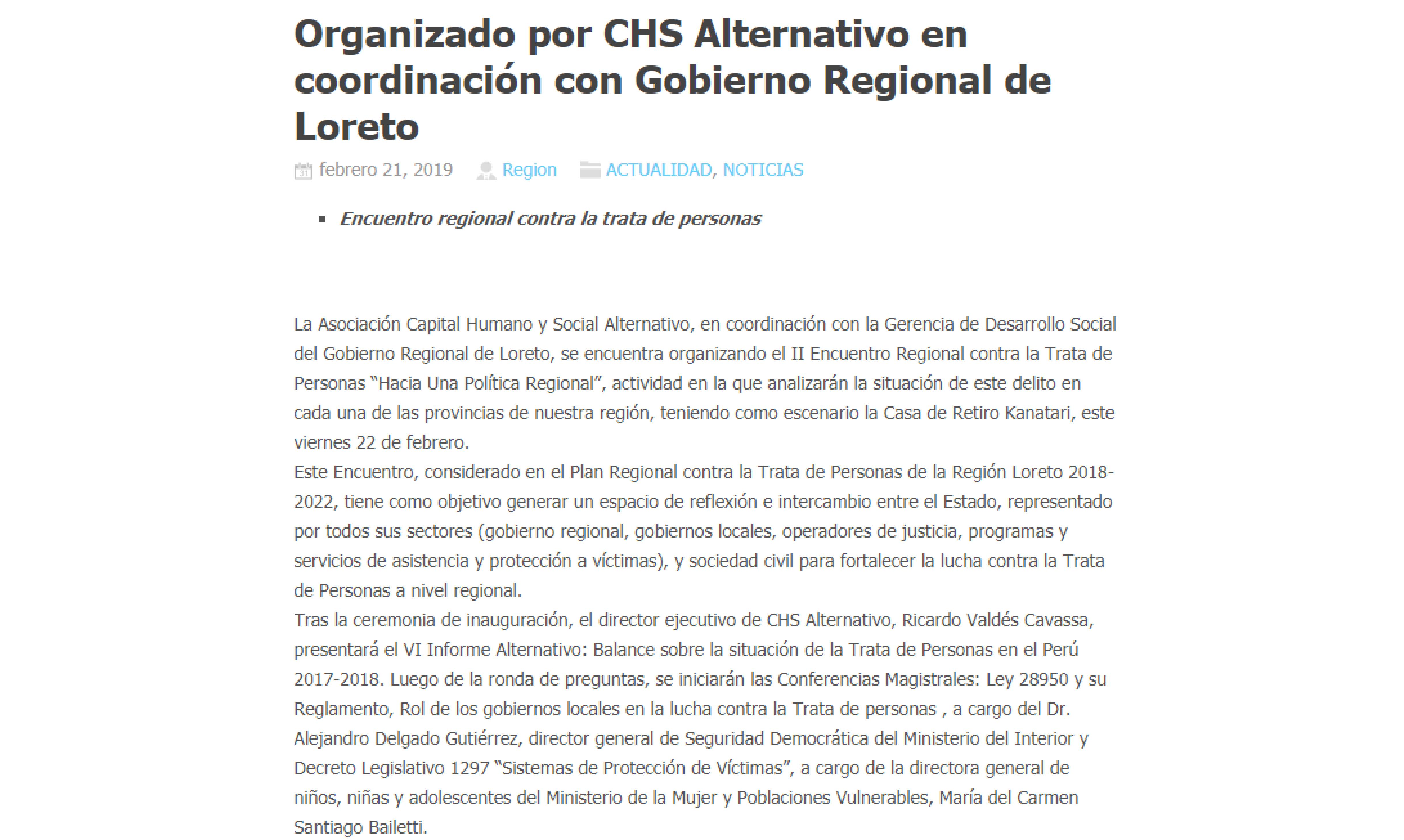 Encuentro regional organizado por CHS Alternativo en coordinación con gobierno regional de Loreto