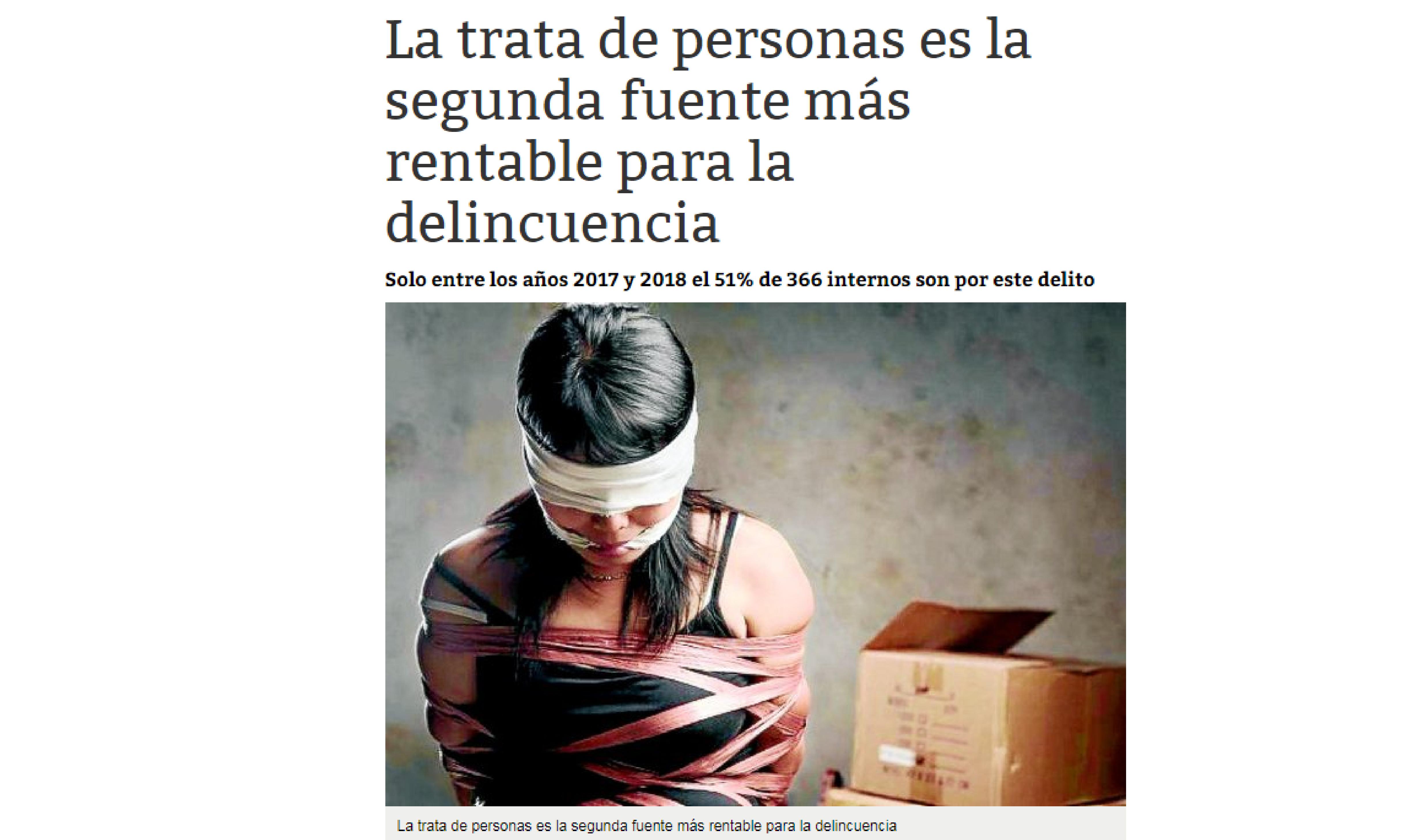 La trata de personas es la segunda fuente más rentable para la delincuencia
