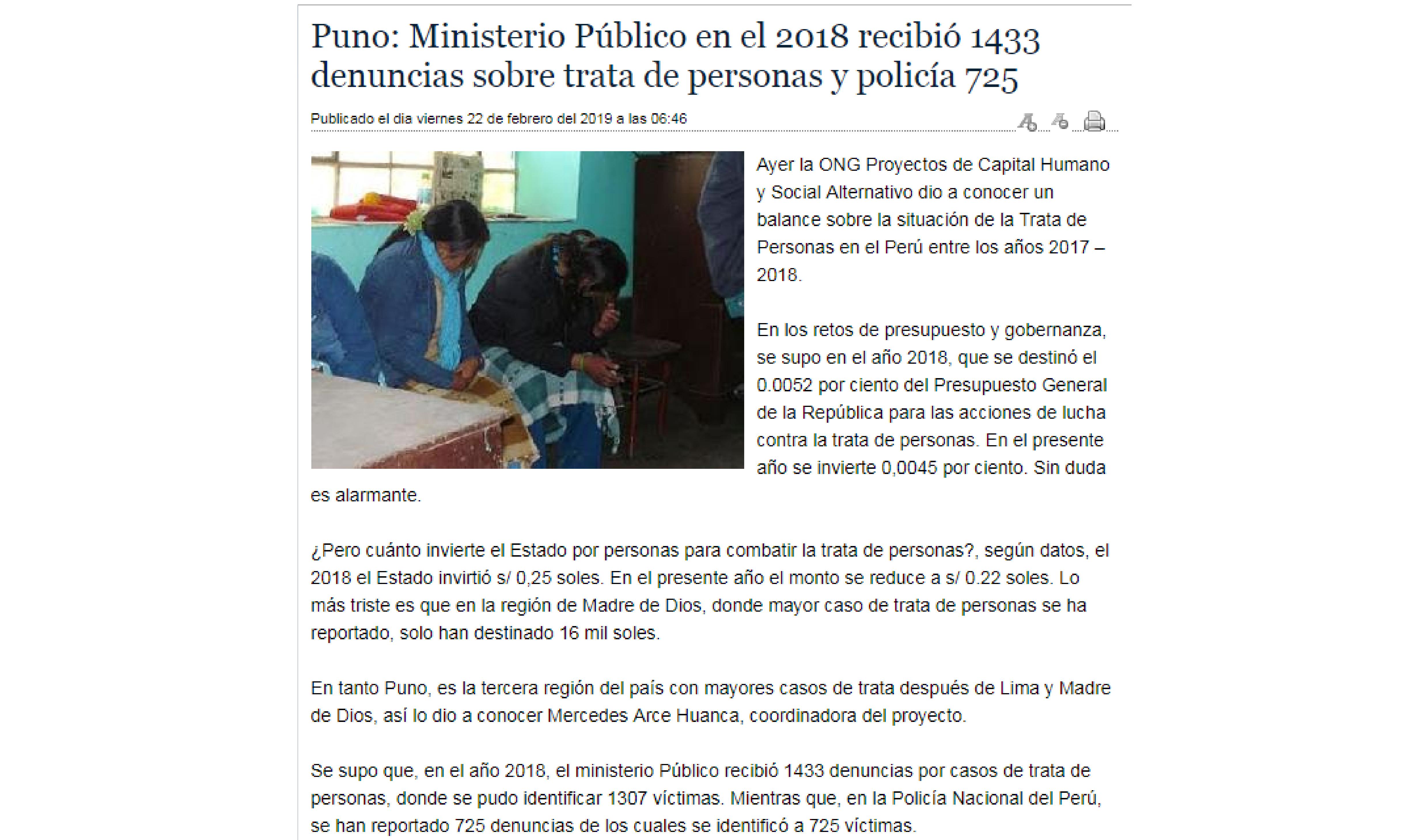 Puno: Ministerio Público en el 2018 recibió 1433 denuncias sobre trata de personas y policía 725