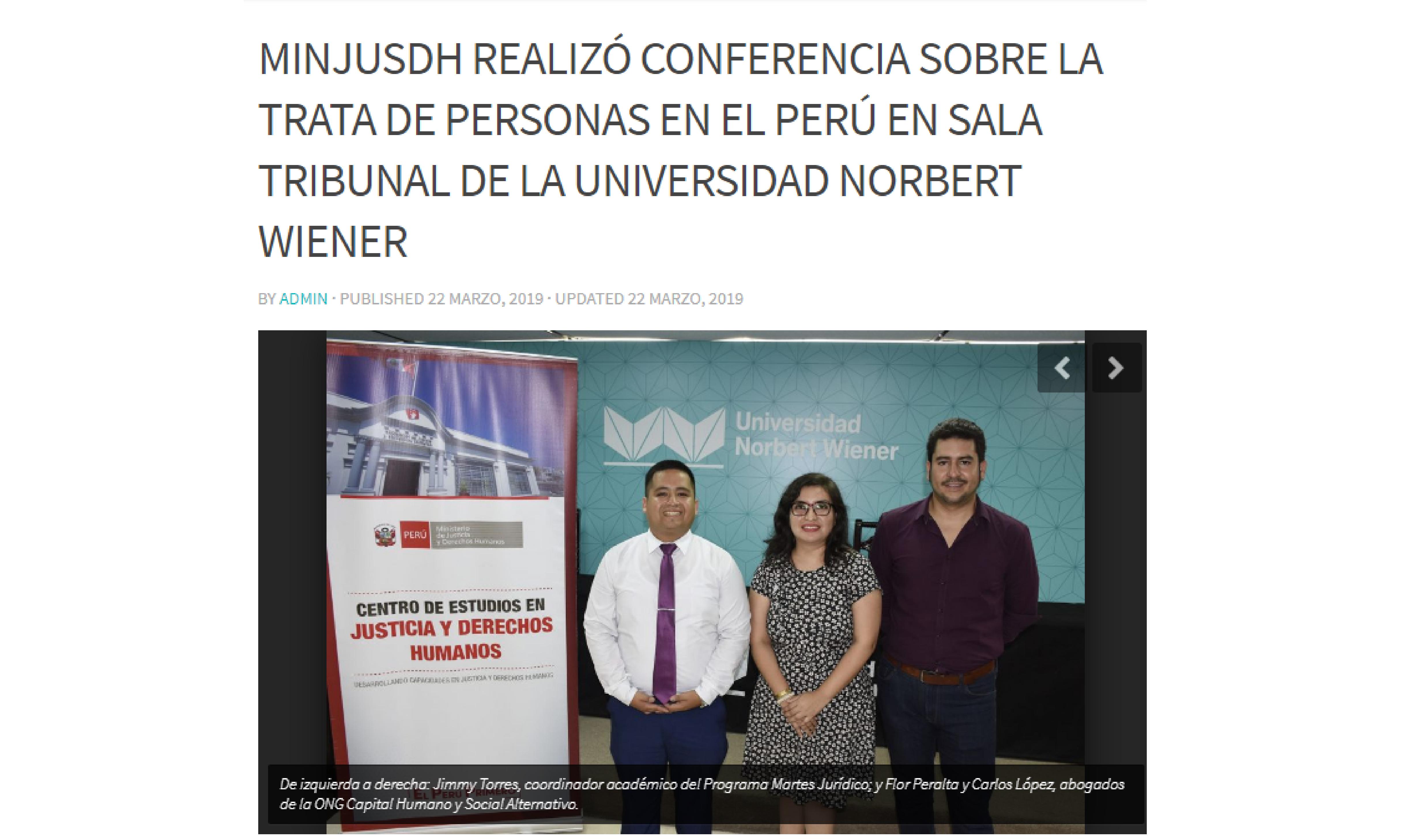 MINJUSDH realizó conferencia sobre la trata de personas en el Perú en sala tribunal de la Universidad Norbert Wiener