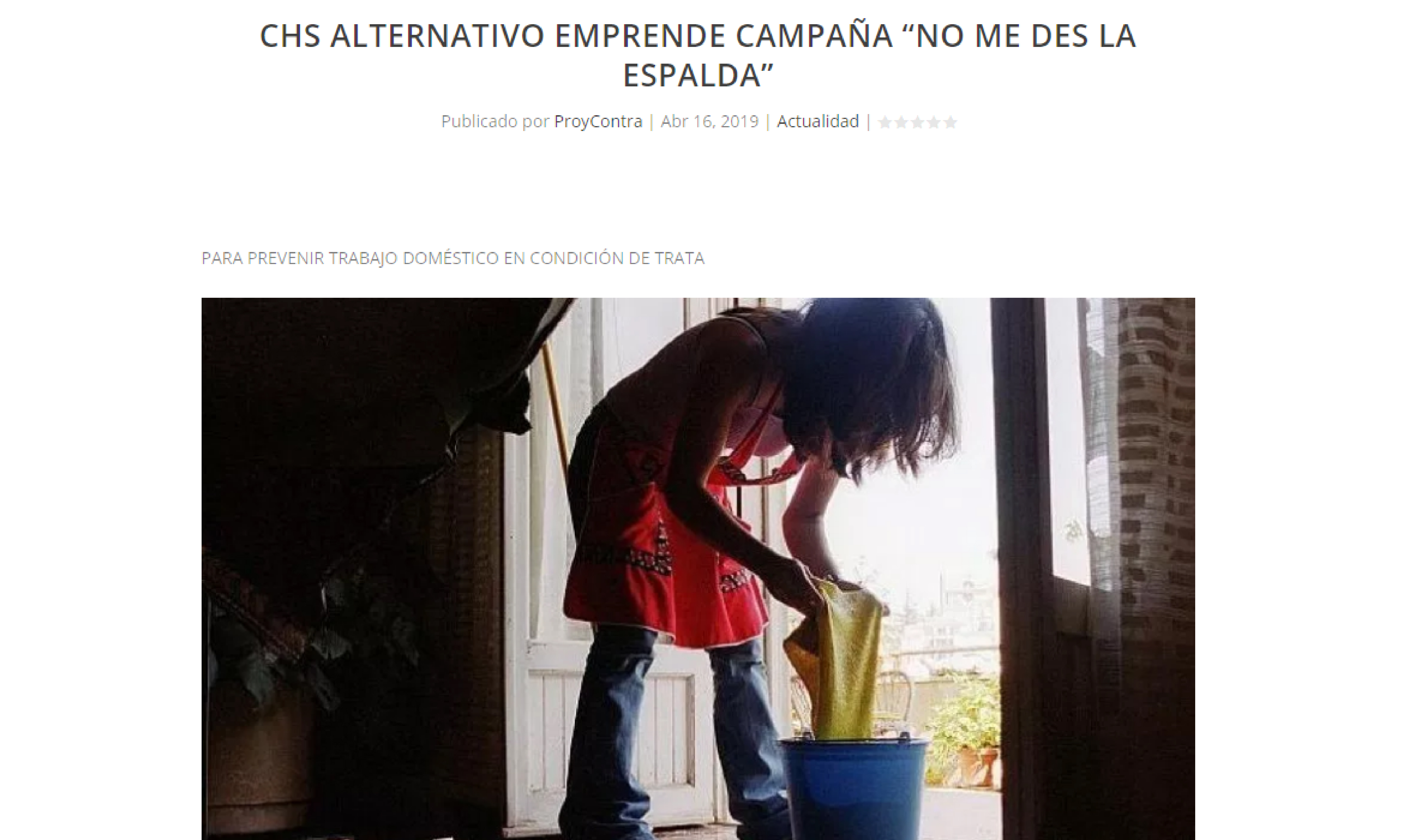 """CHS Alternativo emprende campaña """"No me des la espalda"""""""
