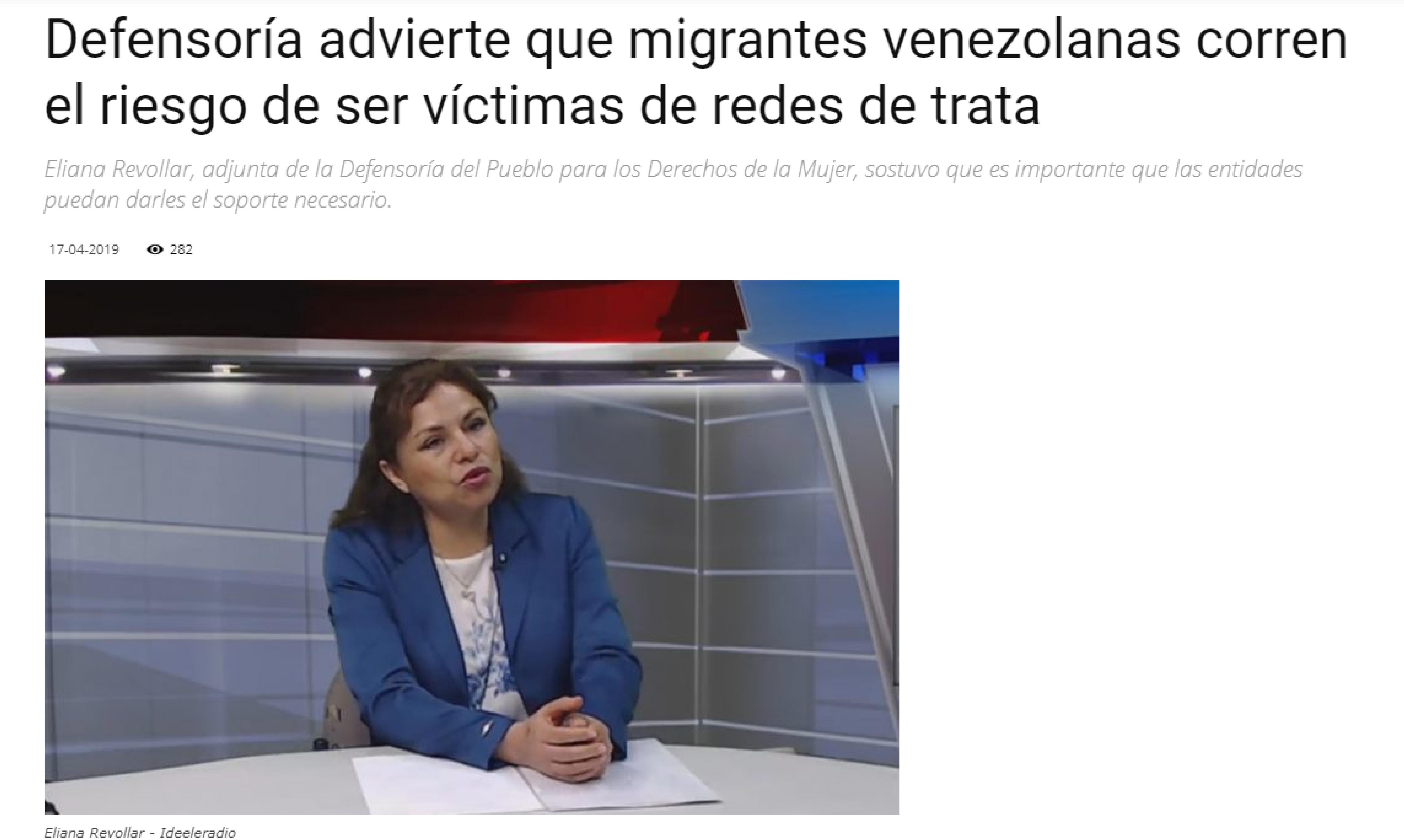 Defensoría advierte que migrantes venezolanas corren el riesgo de ser víctimas de redes de trata