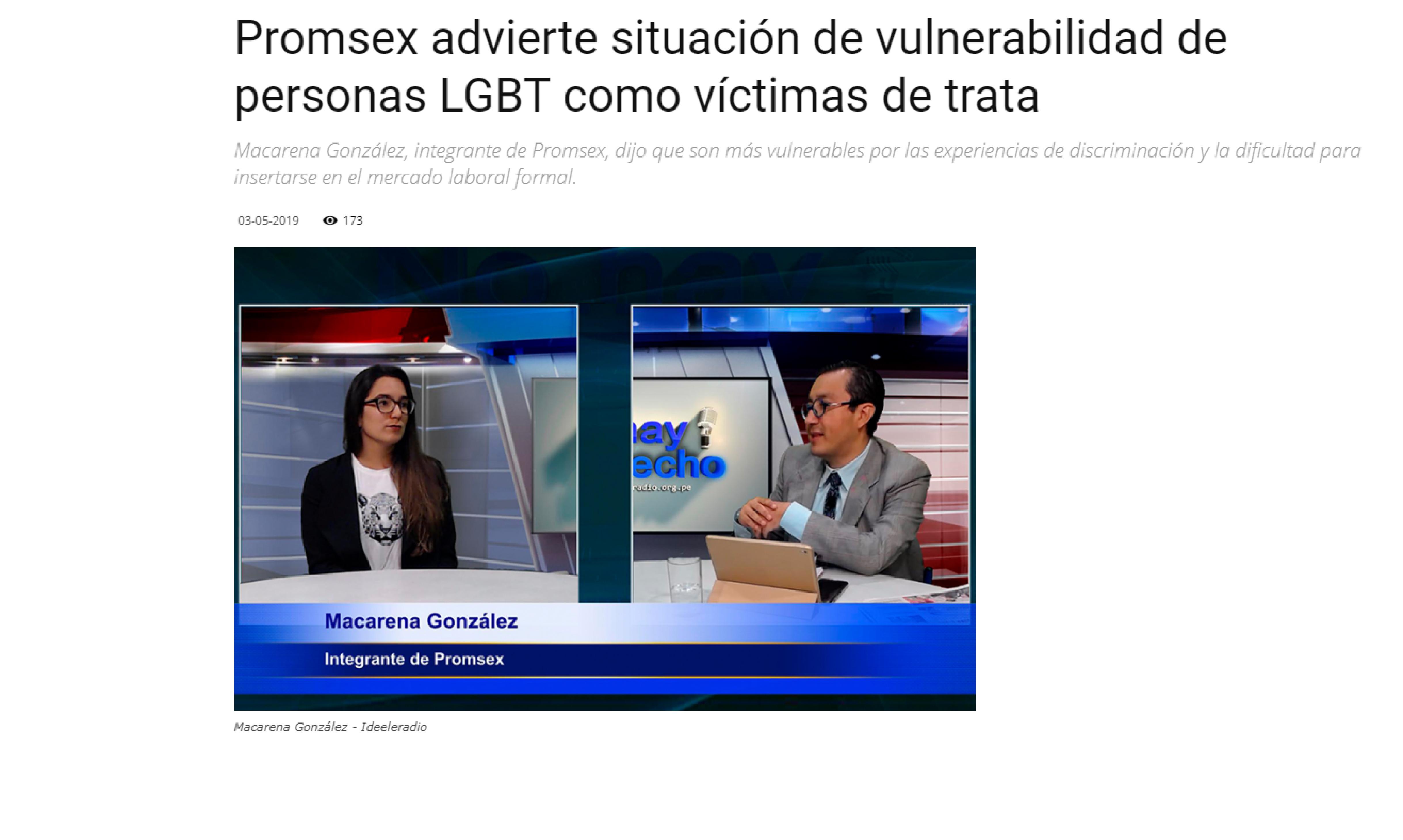 Promsex advierte situación de vulnerabilidad de personas LGBT como víctimas de trata