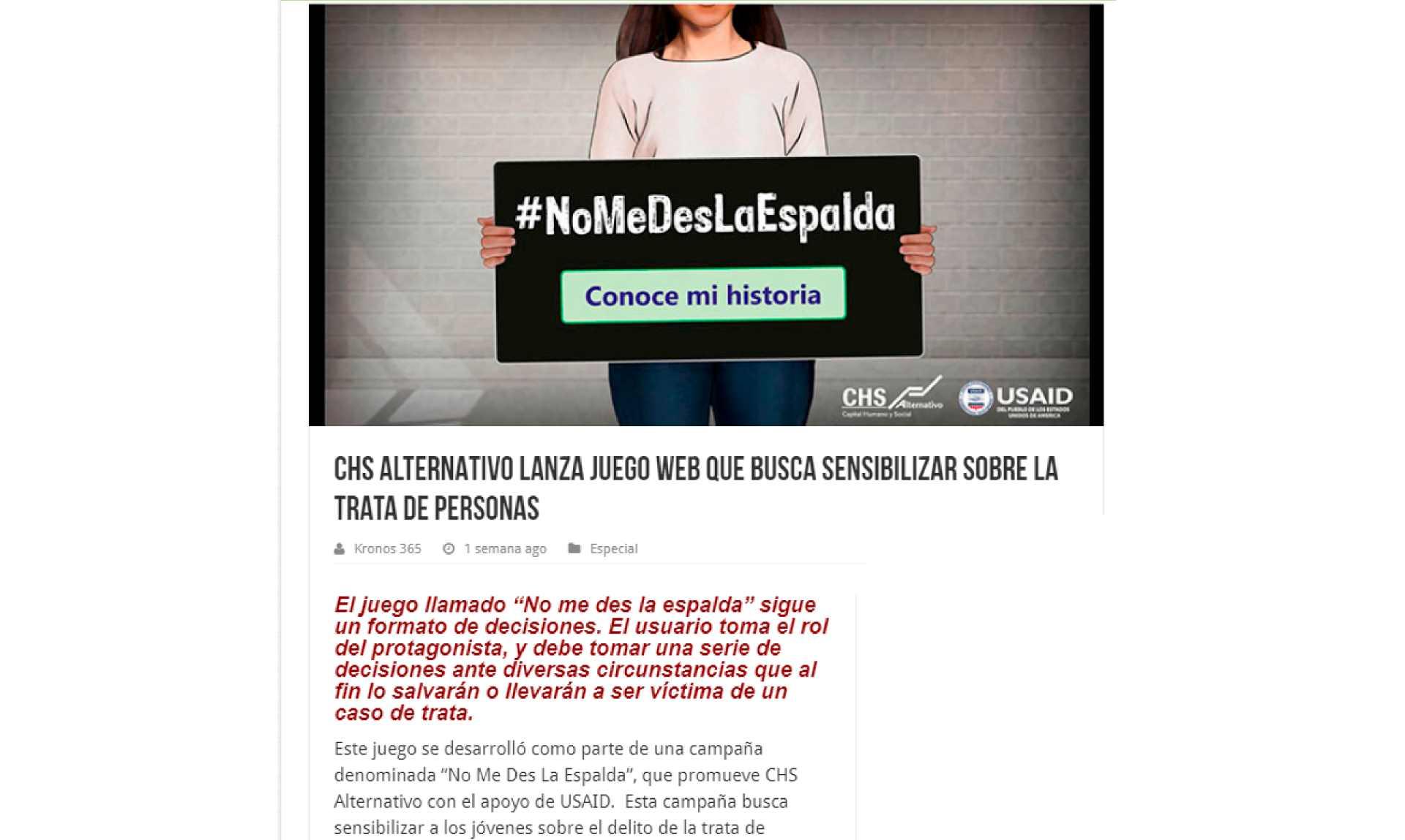 CHS Alternativo lanza juego web que busca sensibilizar sobre la trata de personas