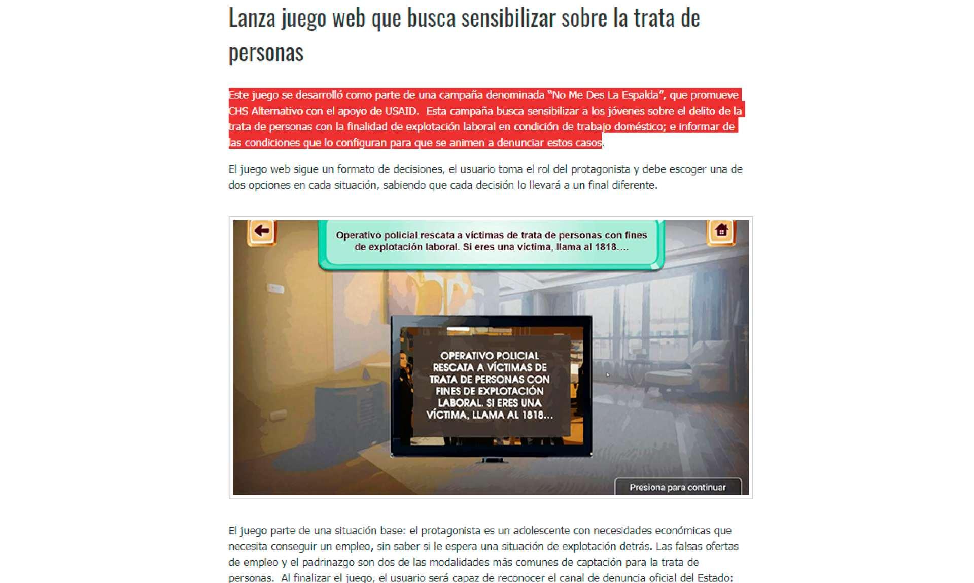 Lanza juego web que busca sensibilizar sobre la trata de personas