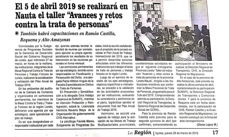 El 5 de abril 2019 en Nauta Taller avances y retos contra la trata de personas