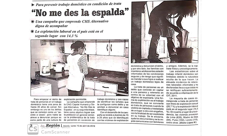 """""""No me des la espalda"""" Campaña de CHS Alternativo"""
