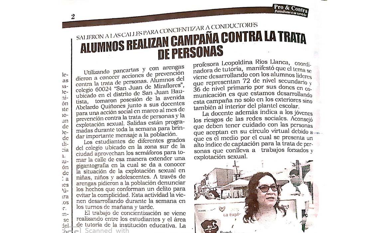 Alumnos realizan campaña contra la trata de personas