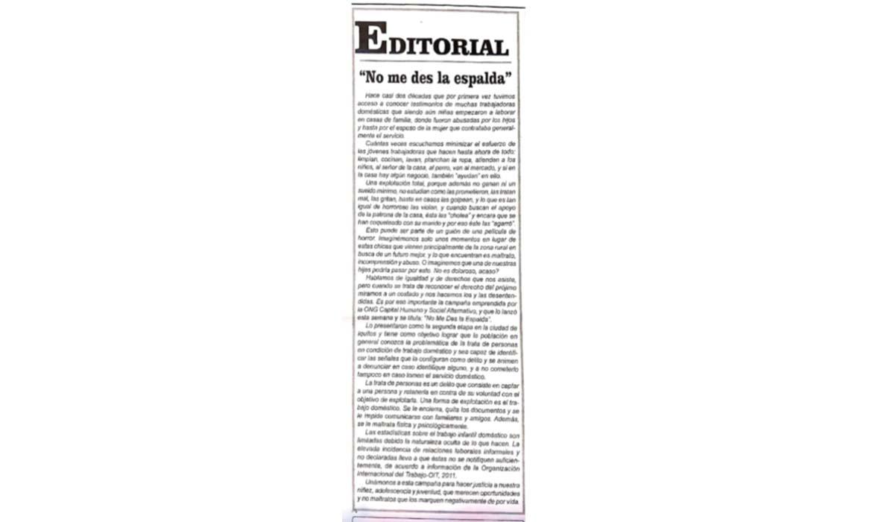 """Editorial """"No me des la espalda"""" – Diario La Región"""