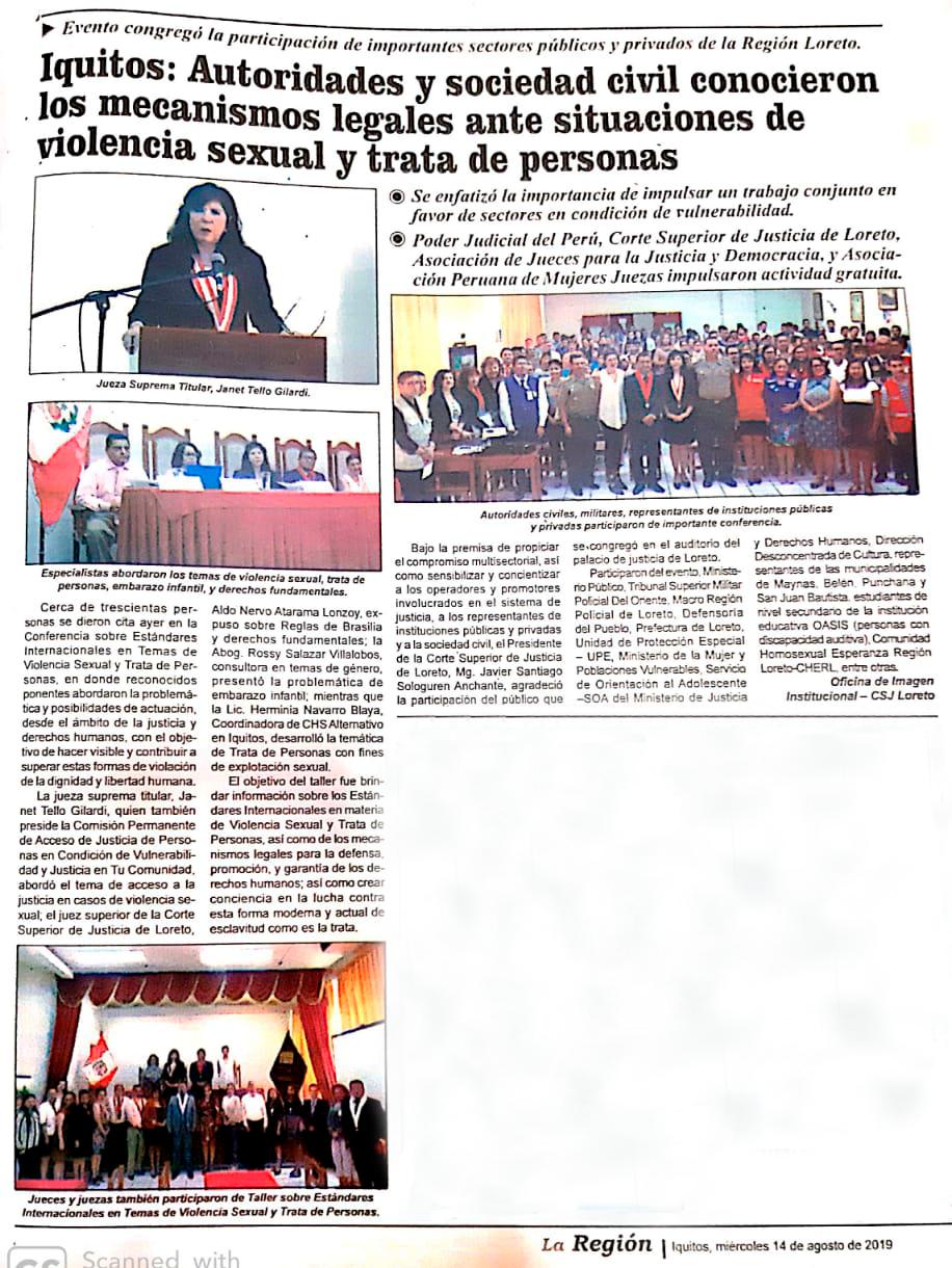 Iquitos: Autoridades y sociedad civil conocieron los mecanismos legales ante situaciones de violencia sexual y trata de personas
