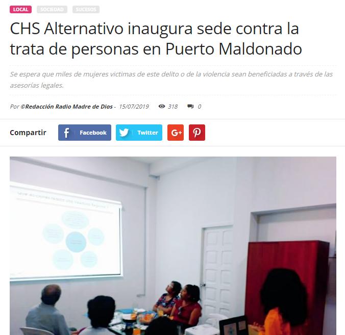 CHS Alternativo inaugura sede contra la trata de personas en Puerto Maldonado