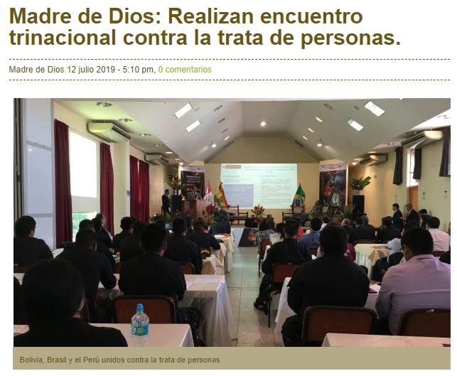 Madre de Dios: Realizan encuentro trinacional contra la trata de personas.