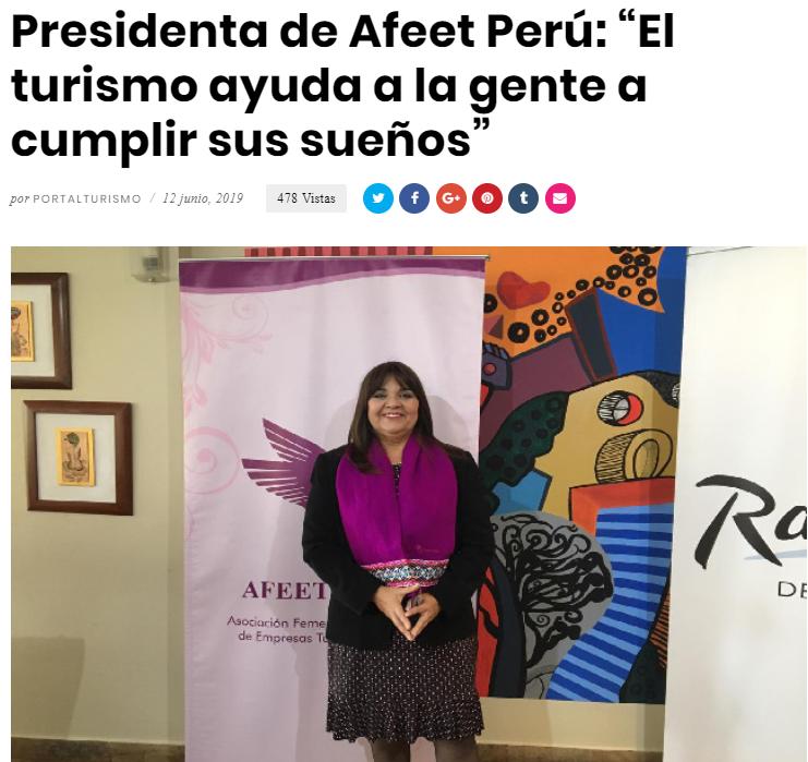 """Presidenta de Afeet Perú: """"El turismo ayuda a la gente a cumplir sus sueños"""""""