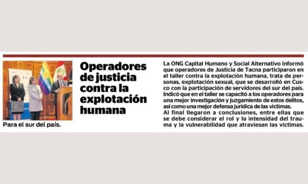 Operadores de justicia contra la explotación humana