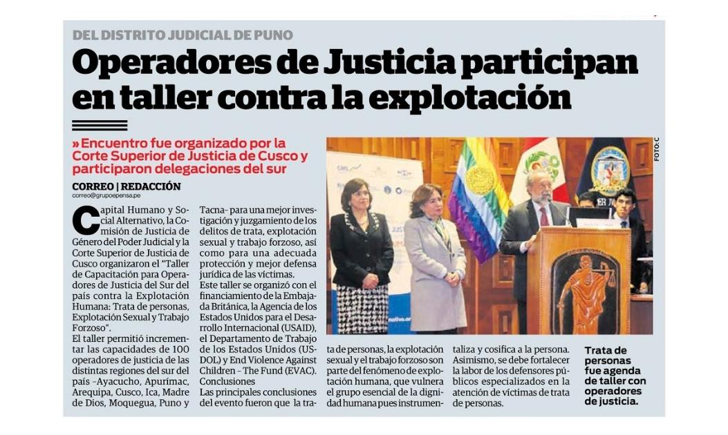 Operadores de Justicia participan en taller contra la explotación
