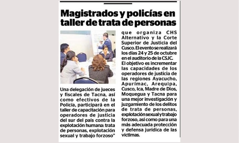 Magistrados y Policías en taller de trata de personas