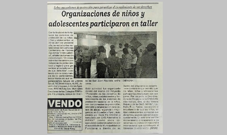 Organizaciones de niños y adolescentes participaron en taller