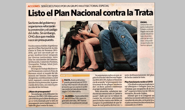 Listo el Plan contra la Trata de Personas