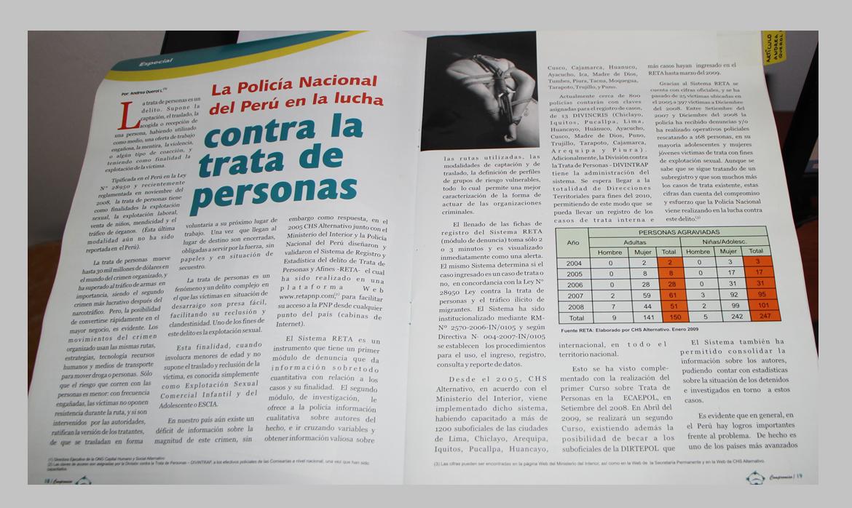 La Policía Nacional del Perú en la lucha contra la trata de personas