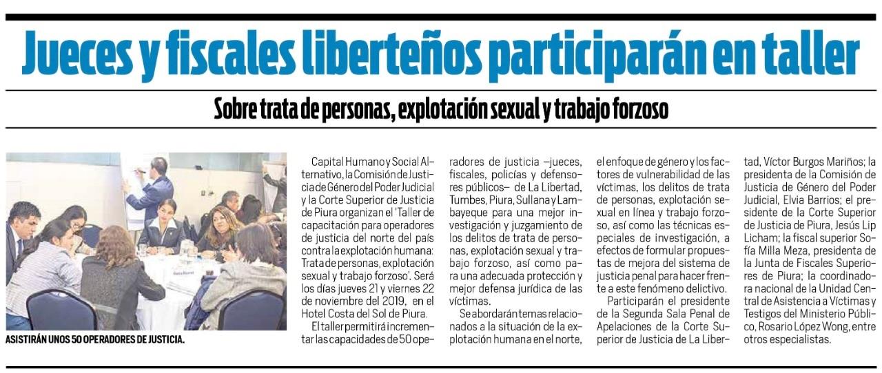 Jueces y Fiscales liberteños participarán en taller sobre trata de personas, explotación sexual y trabajo forzoso